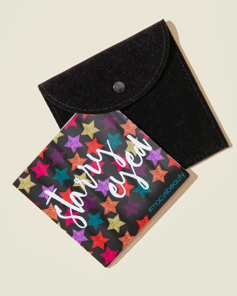 Black flat pouch with beauty product