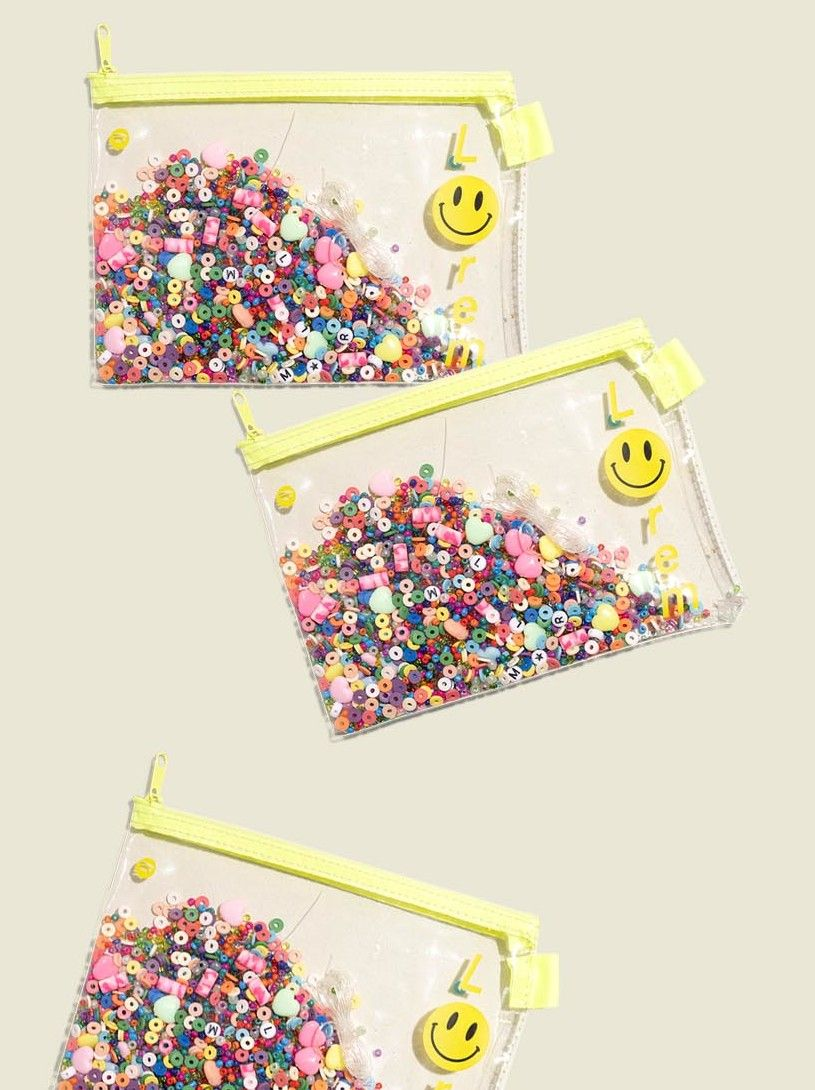 Set of clear zip pouches with beads