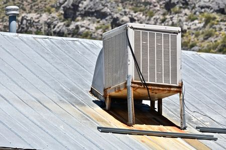 A recently finished evaporative cooler repair done in Denver