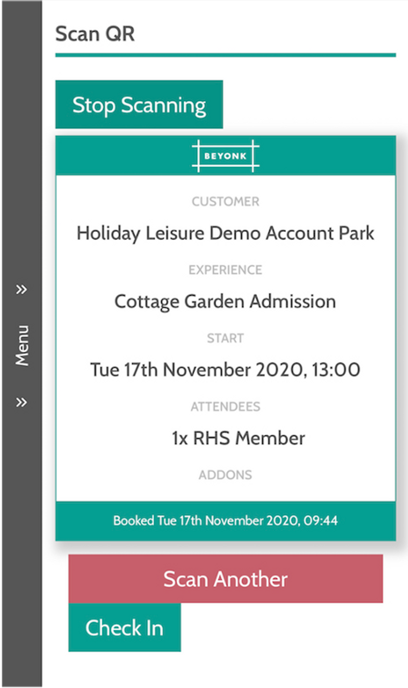 Ticket Scanning through the Beyonk Booking Software App