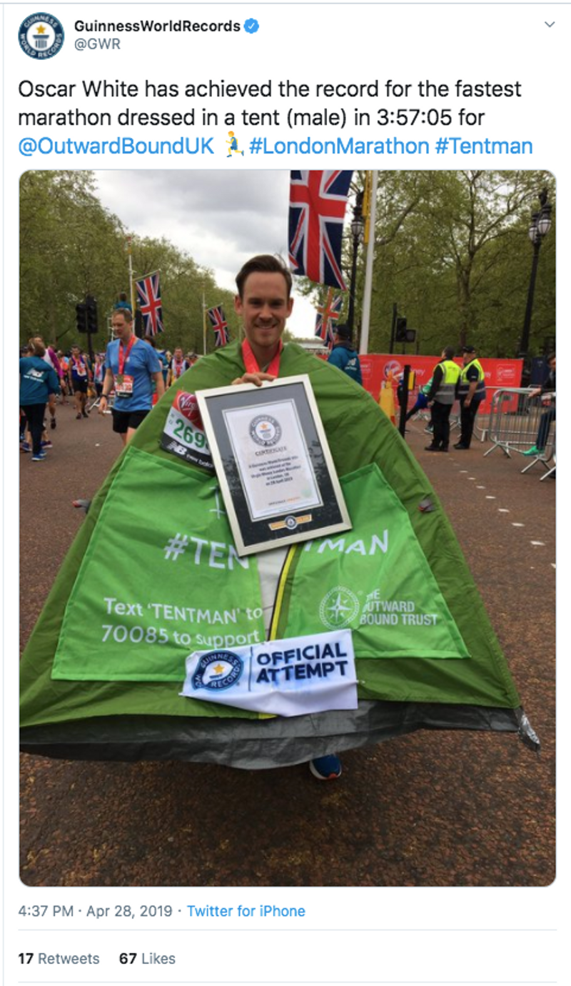 tentman on twitter - guiness world record for promoting the benefits of getting outdoors