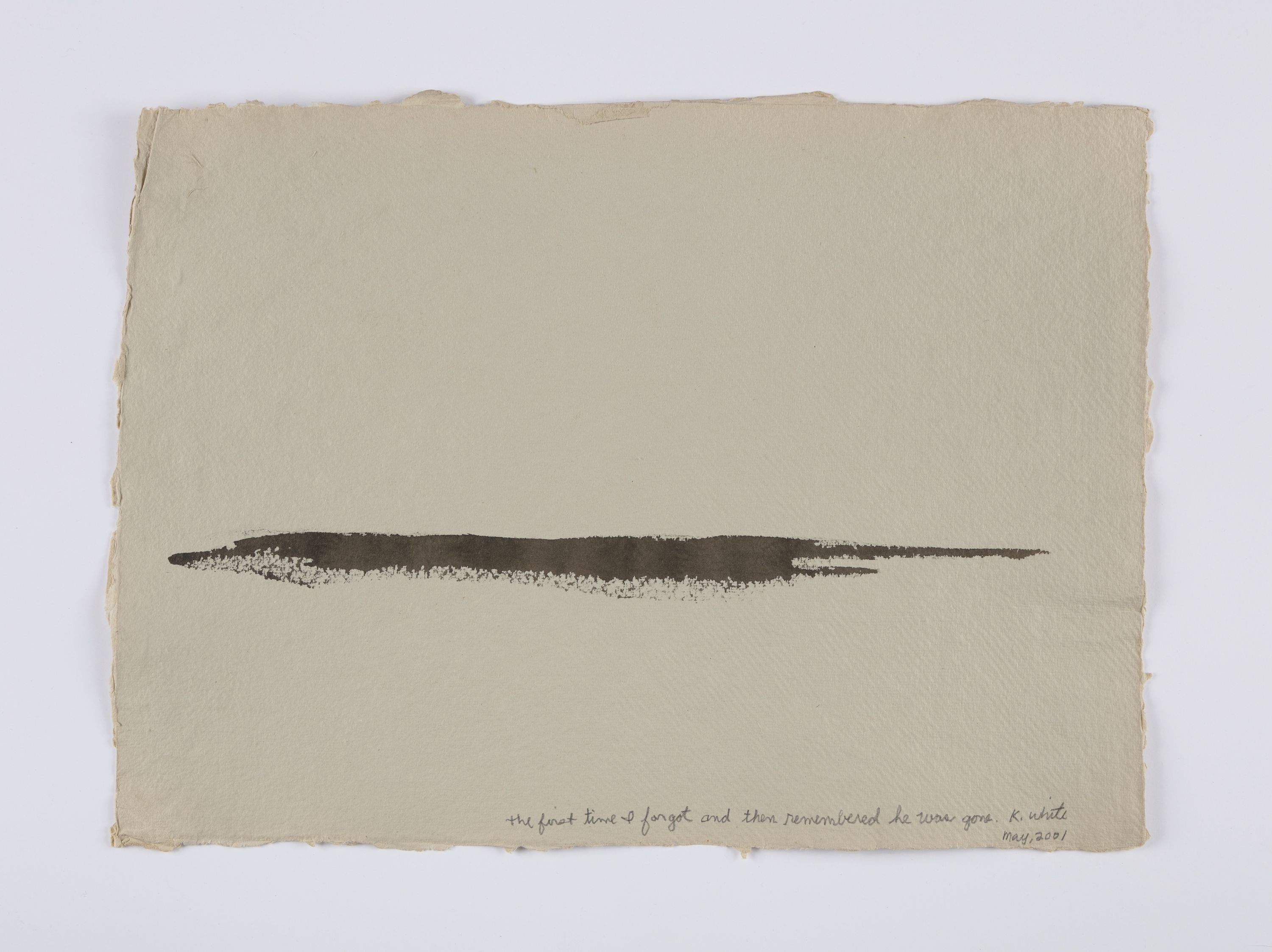 """A close-up view of one of the drawings in """"A Year of Firsts,"""" featuring a long, wide brown mark"""