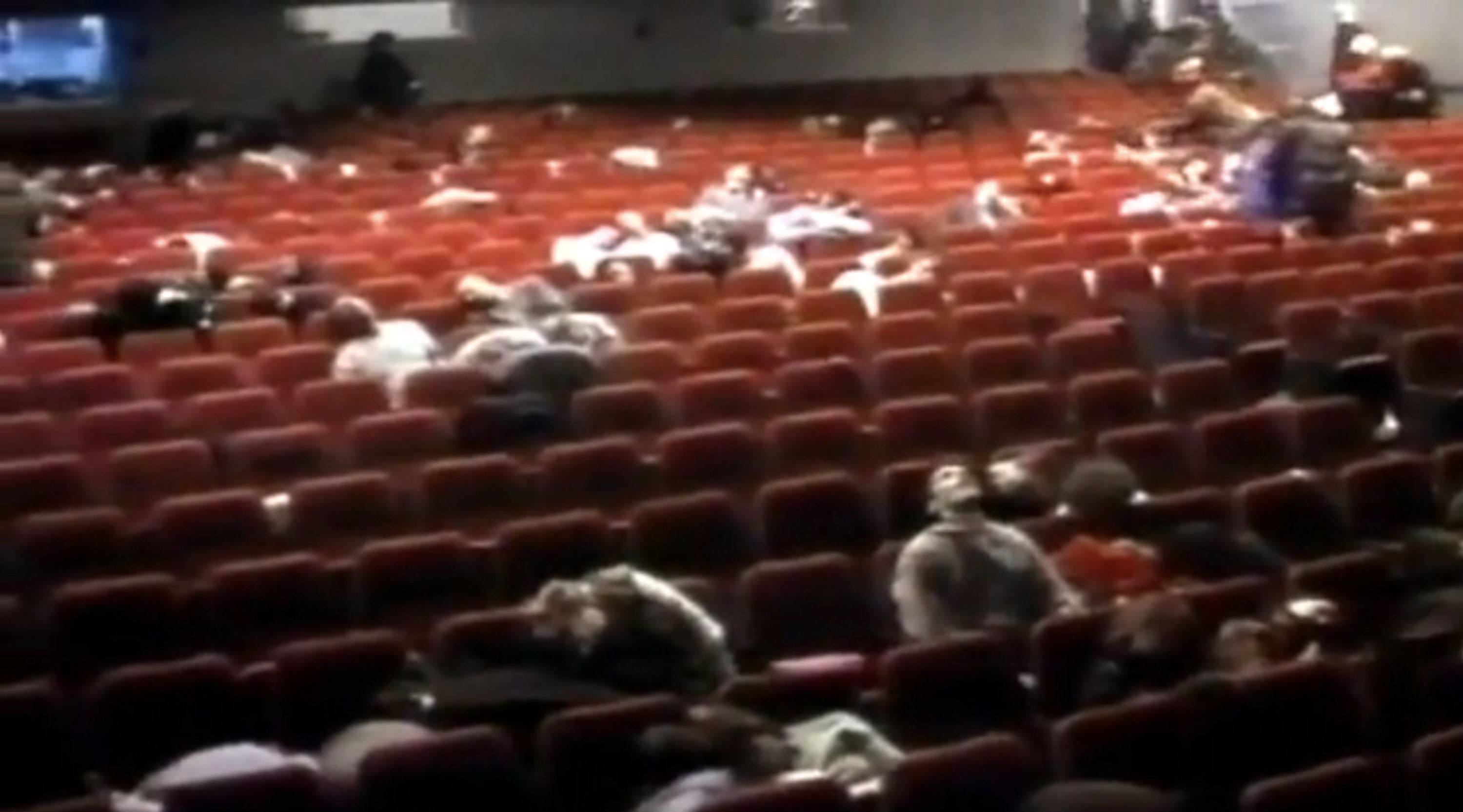 Screenshot from Russian TV channel NTV of gassed hostages in the Moscow theater.