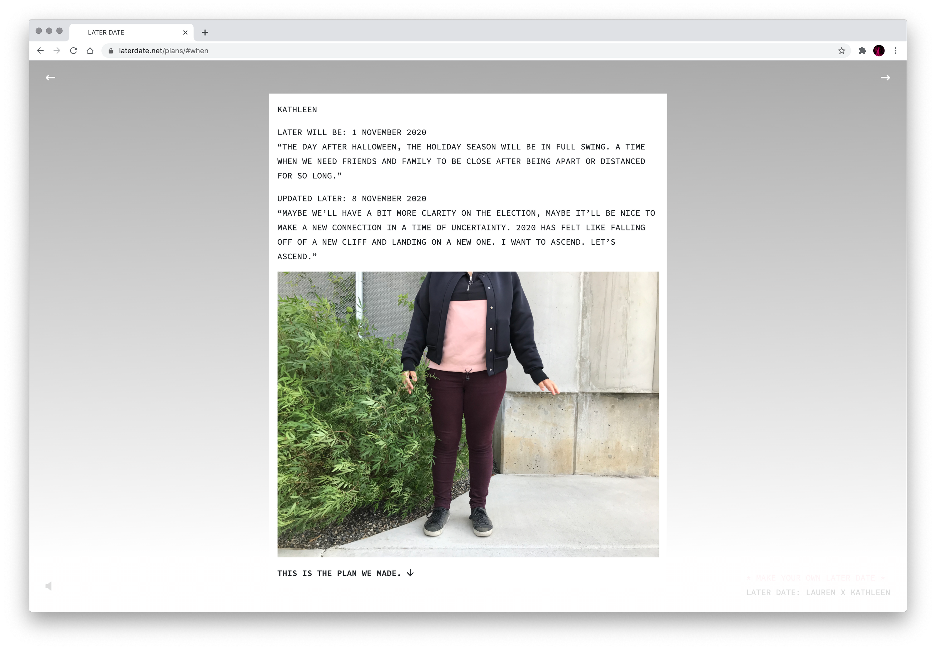 """In a screenshot of a browser window, we see some text and the torso of a person wearing brown pants, a pink sweatshirt, and a black jacket. In the text, the person hypothesizes that """"later"""" will be November 1, 2020."""