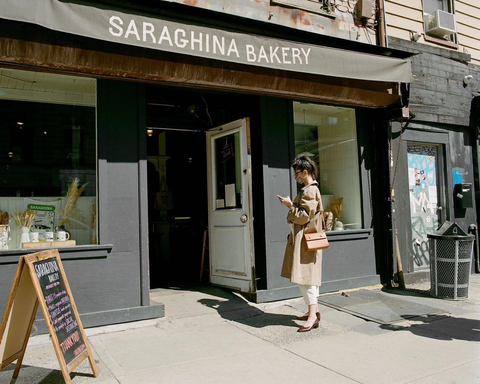 Anna Polonsky in front of SARAGHINA BAKERY
