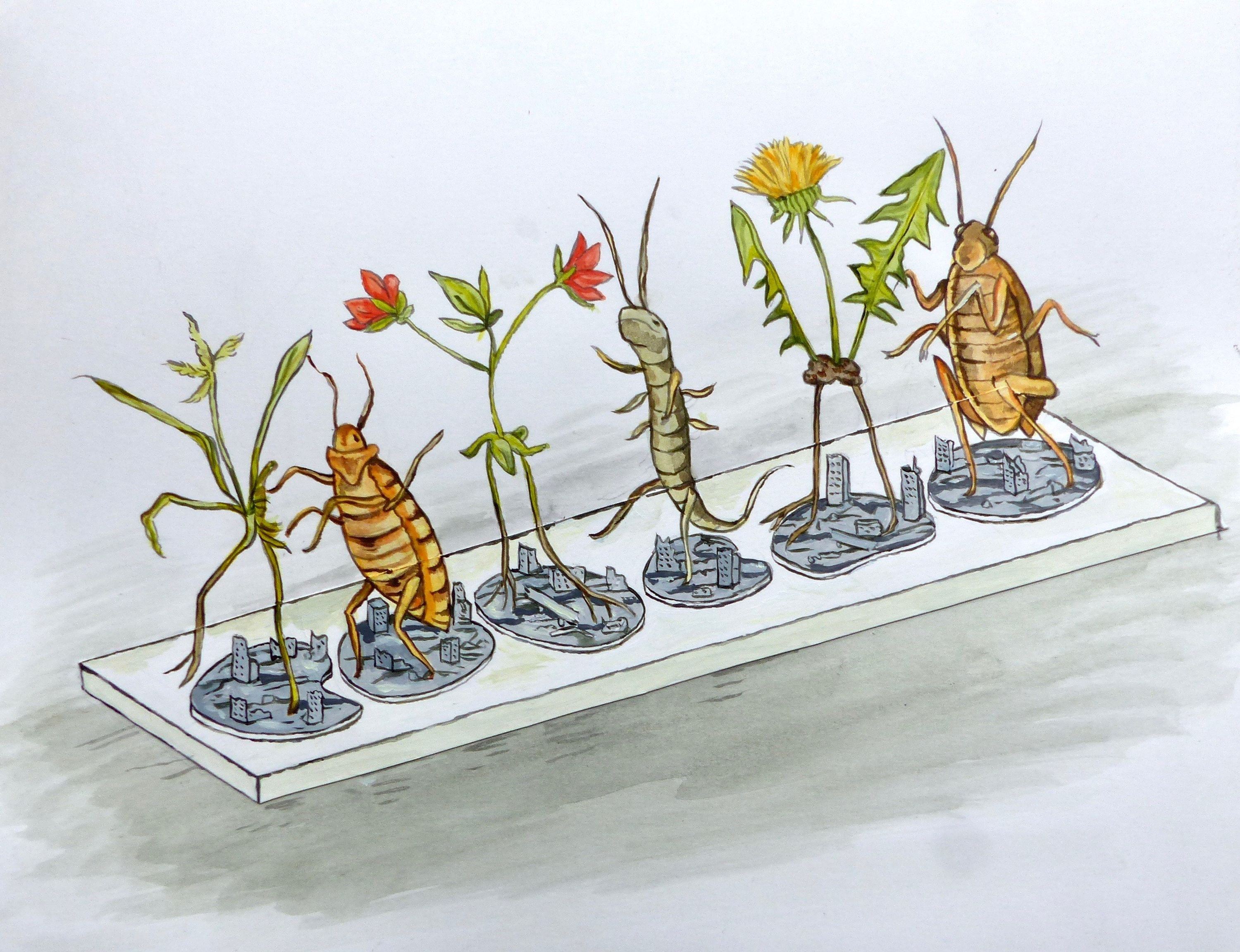 Sketch of insects and plants walking over tiny cities.