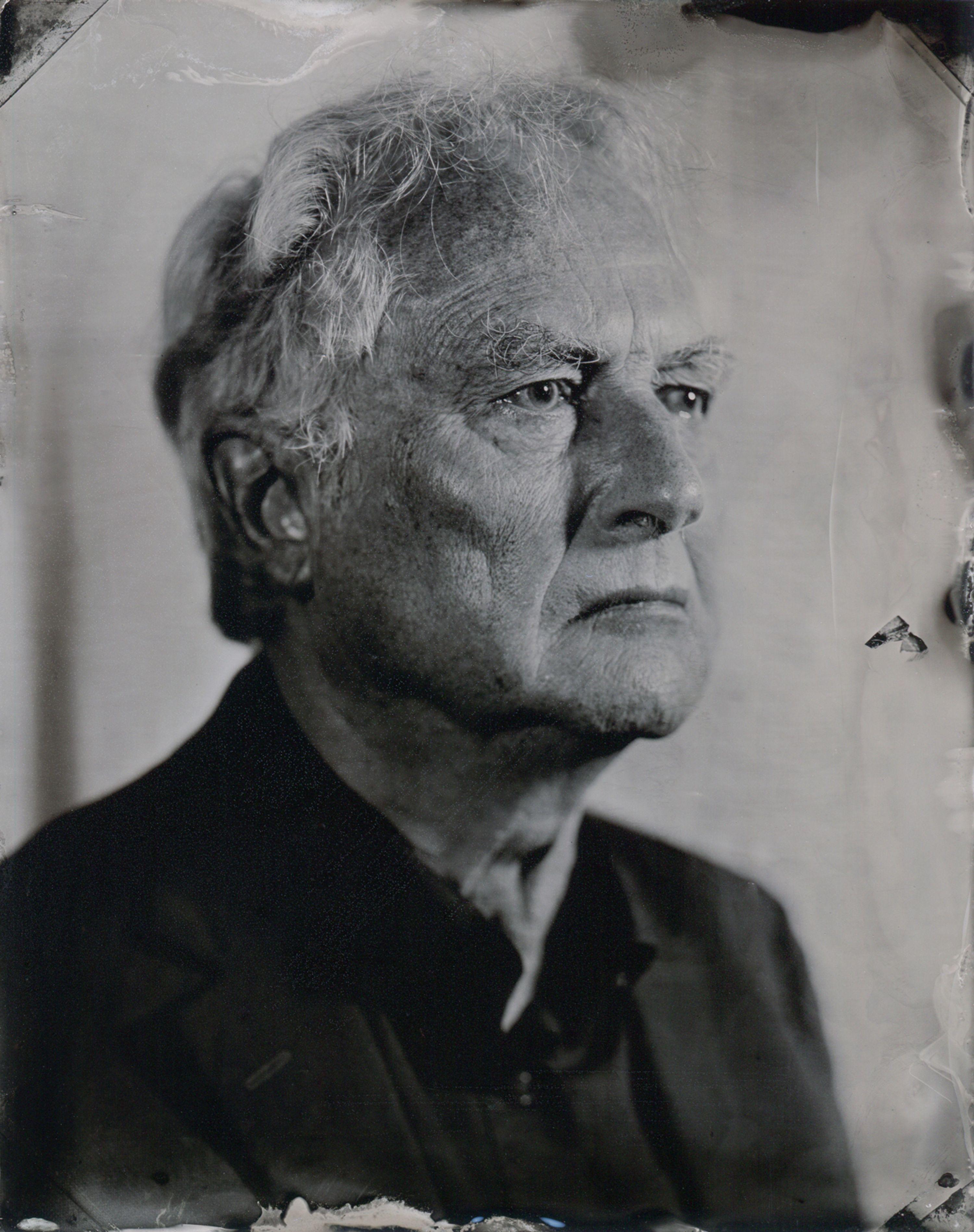 Portrait of Richard Dawkins printed on a piece of tin