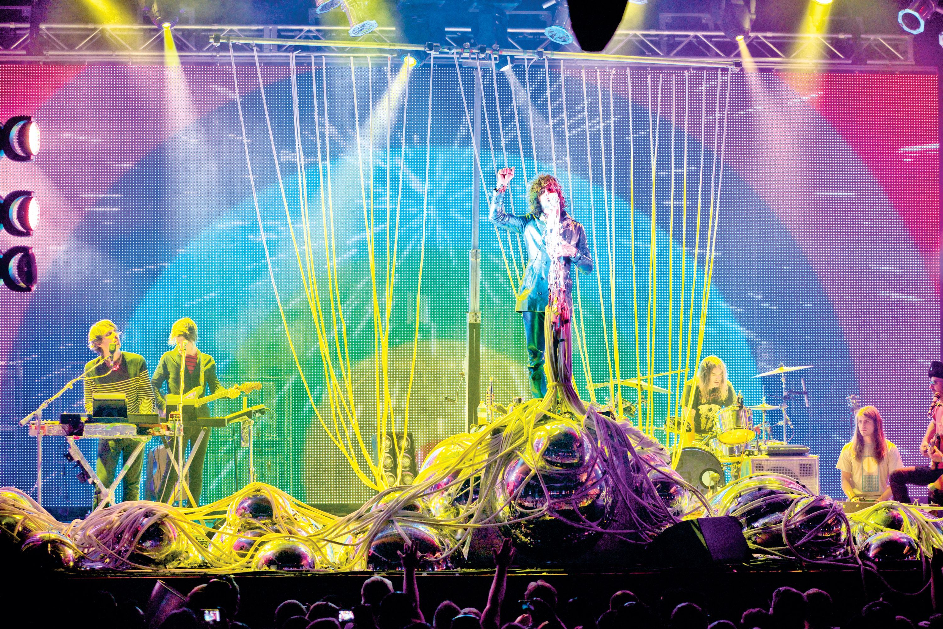 The Flaming Lips live in front of LED wall.