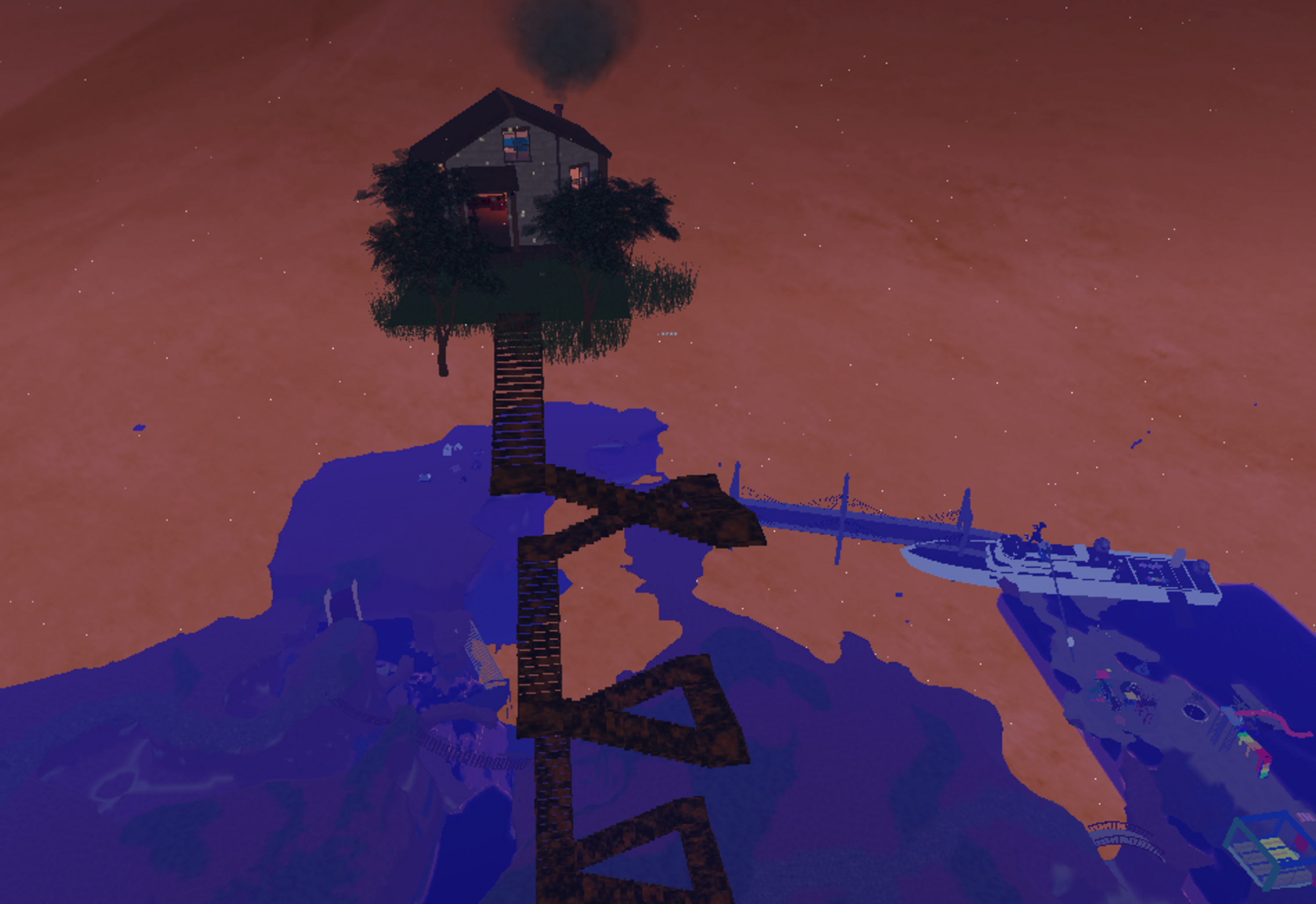 A cabin floating at the top of spiral staircase. You can see a boat and a bridge far below