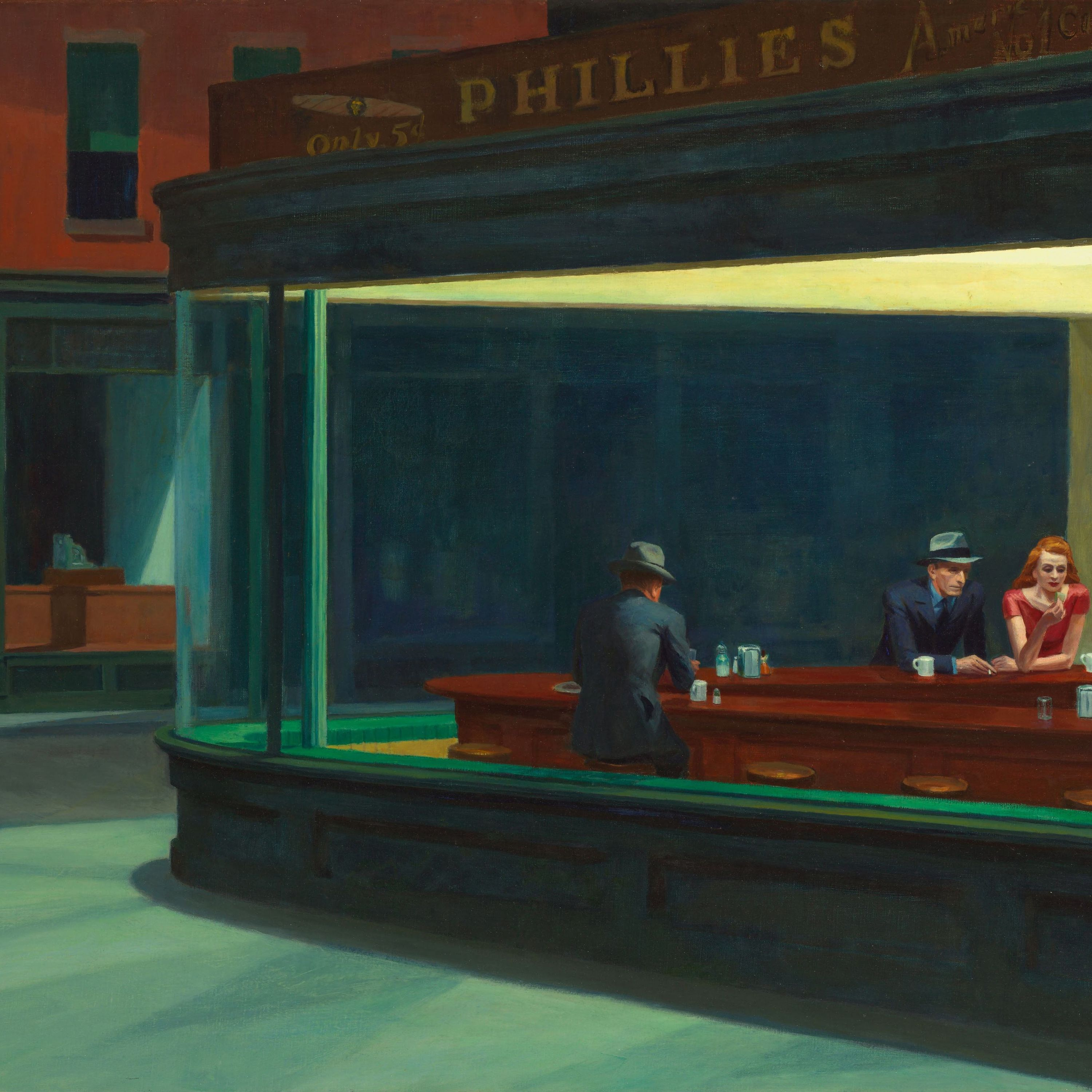 Edward Hopper painting of a man in a diner late at night.