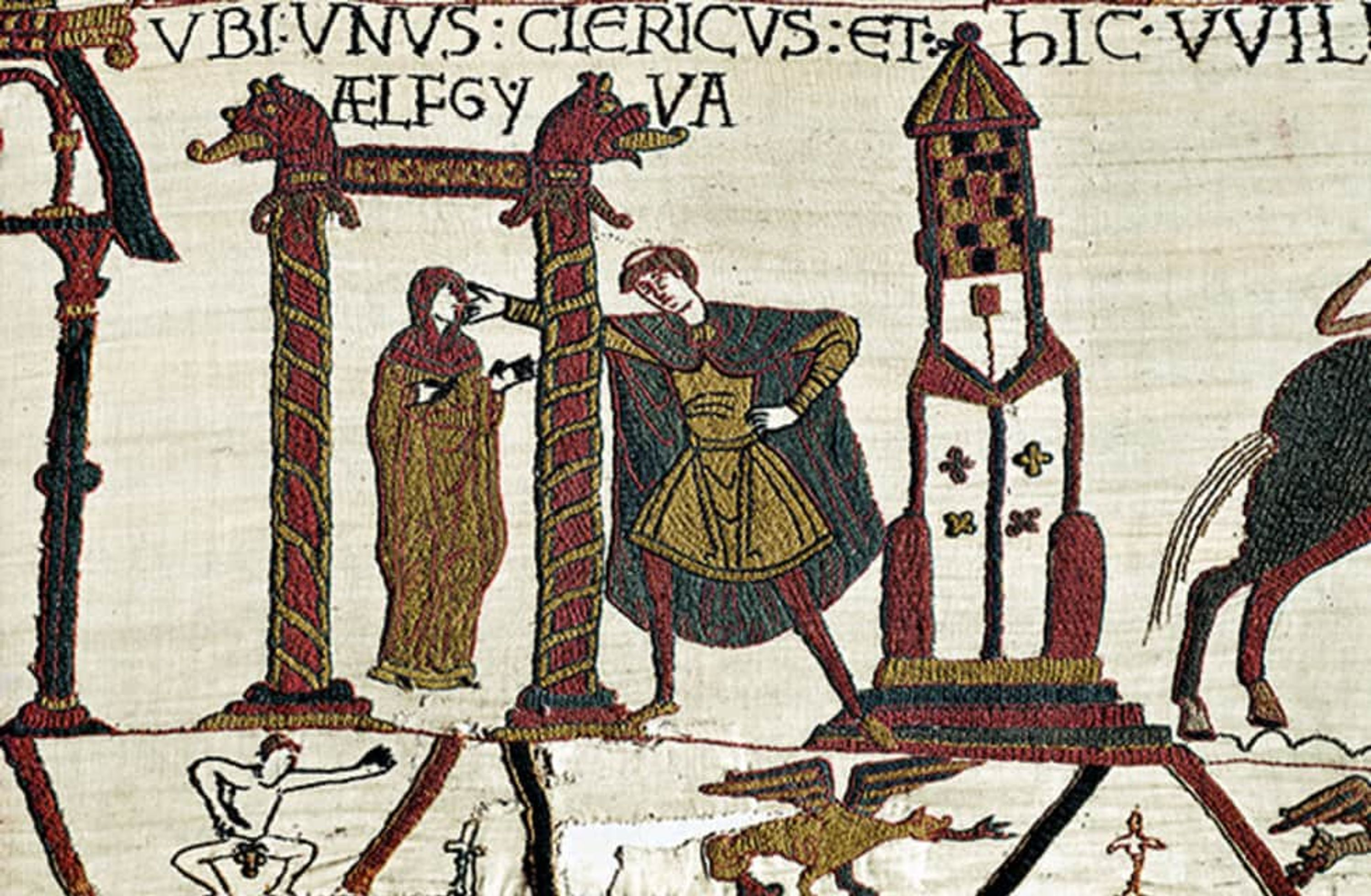 A fragment of the Bayeux Tapestry showing a man punching another man.