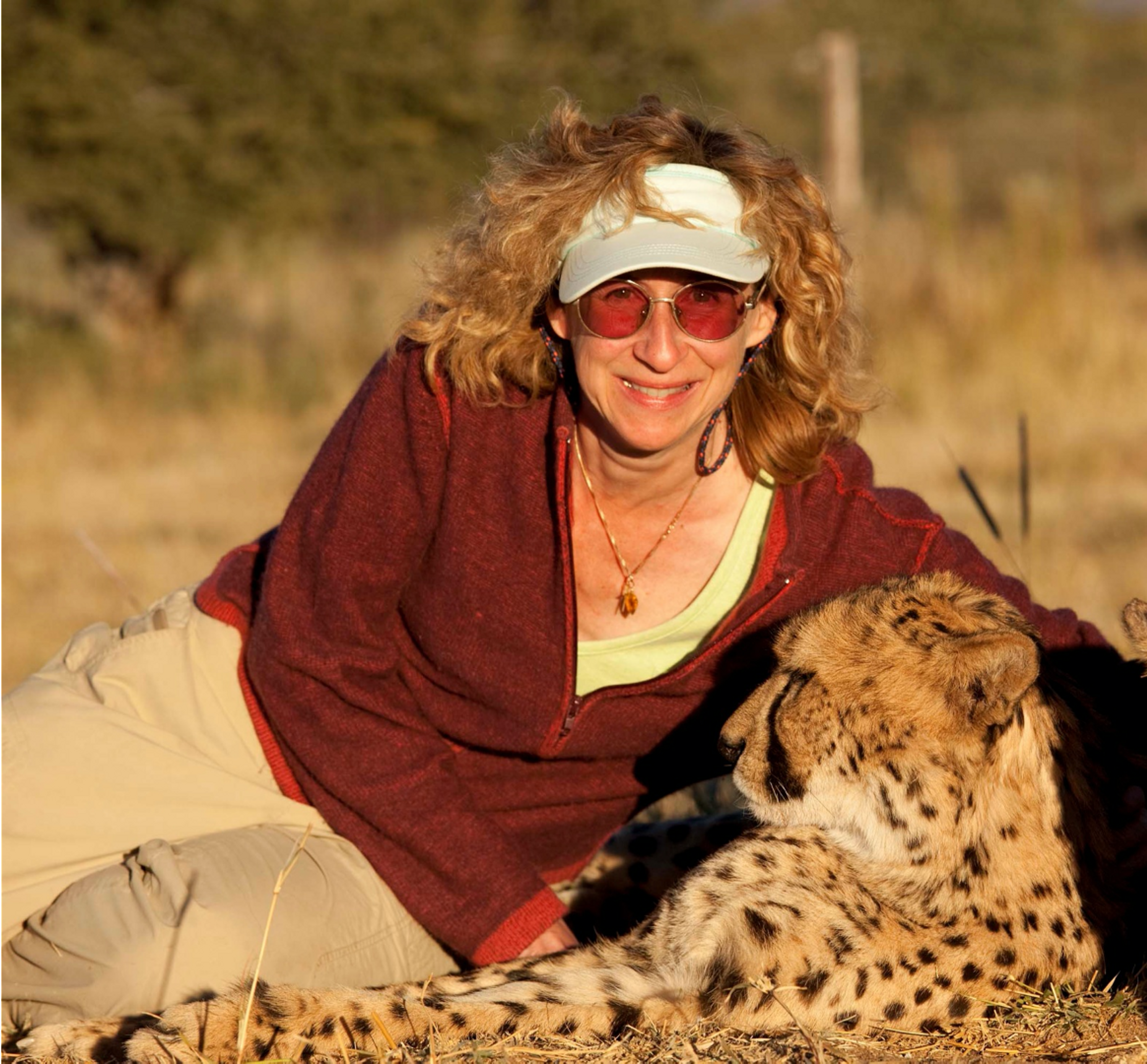 Sy montgomery with a cheetah