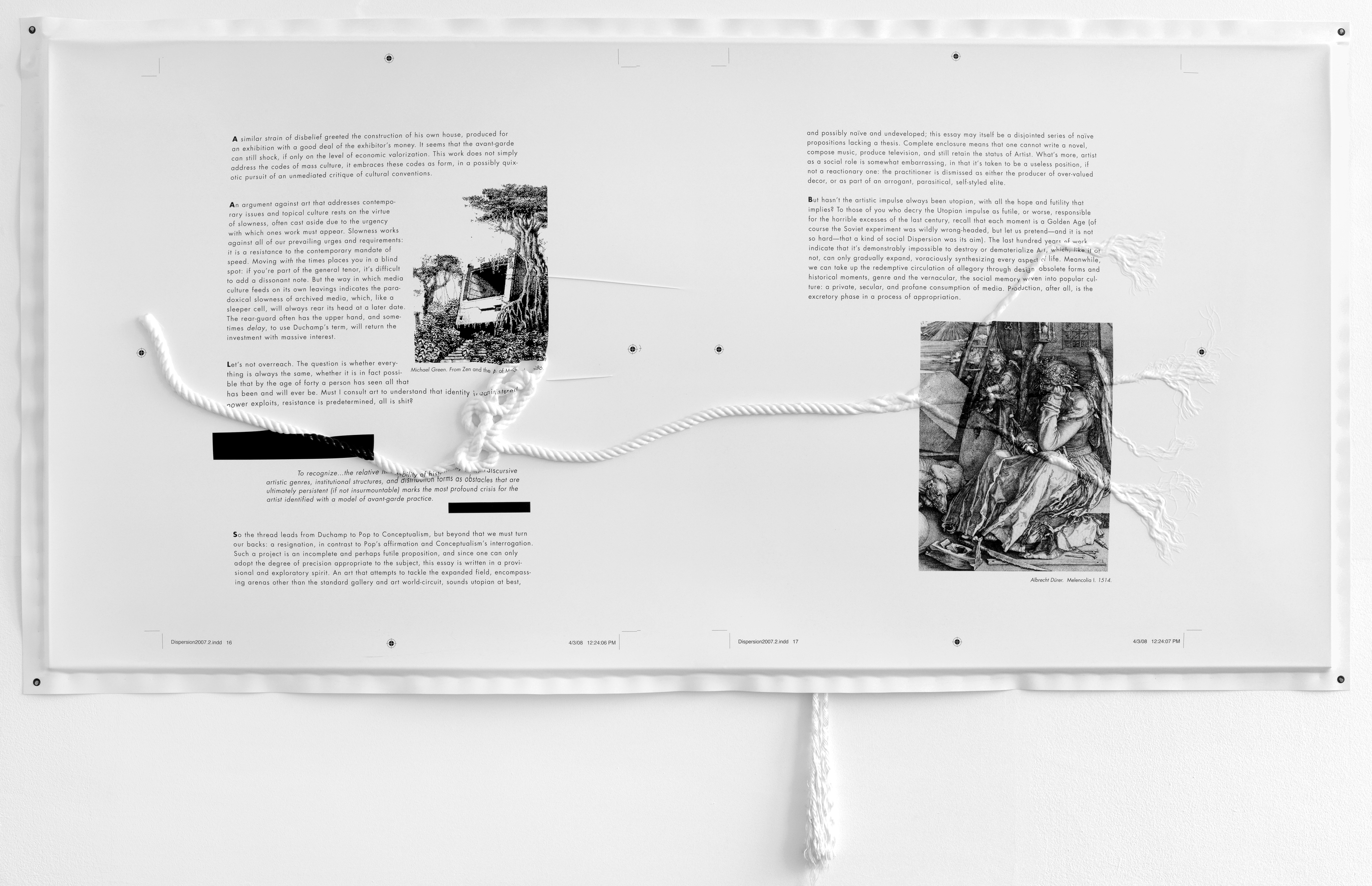 Seth Price, Essay with Knots, pp. 16–17, 2008, Screenprint on polystyrene vacuum-formed over rope, 48 x 96 inches. Courtesy of the artist and Petzel, New York.