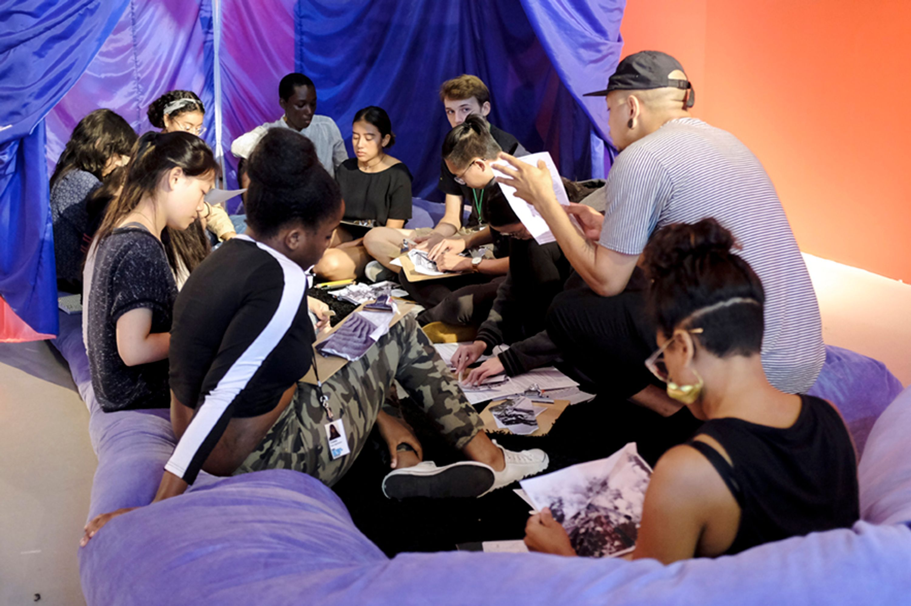 Collage workshop in The Black School installation at New Museum