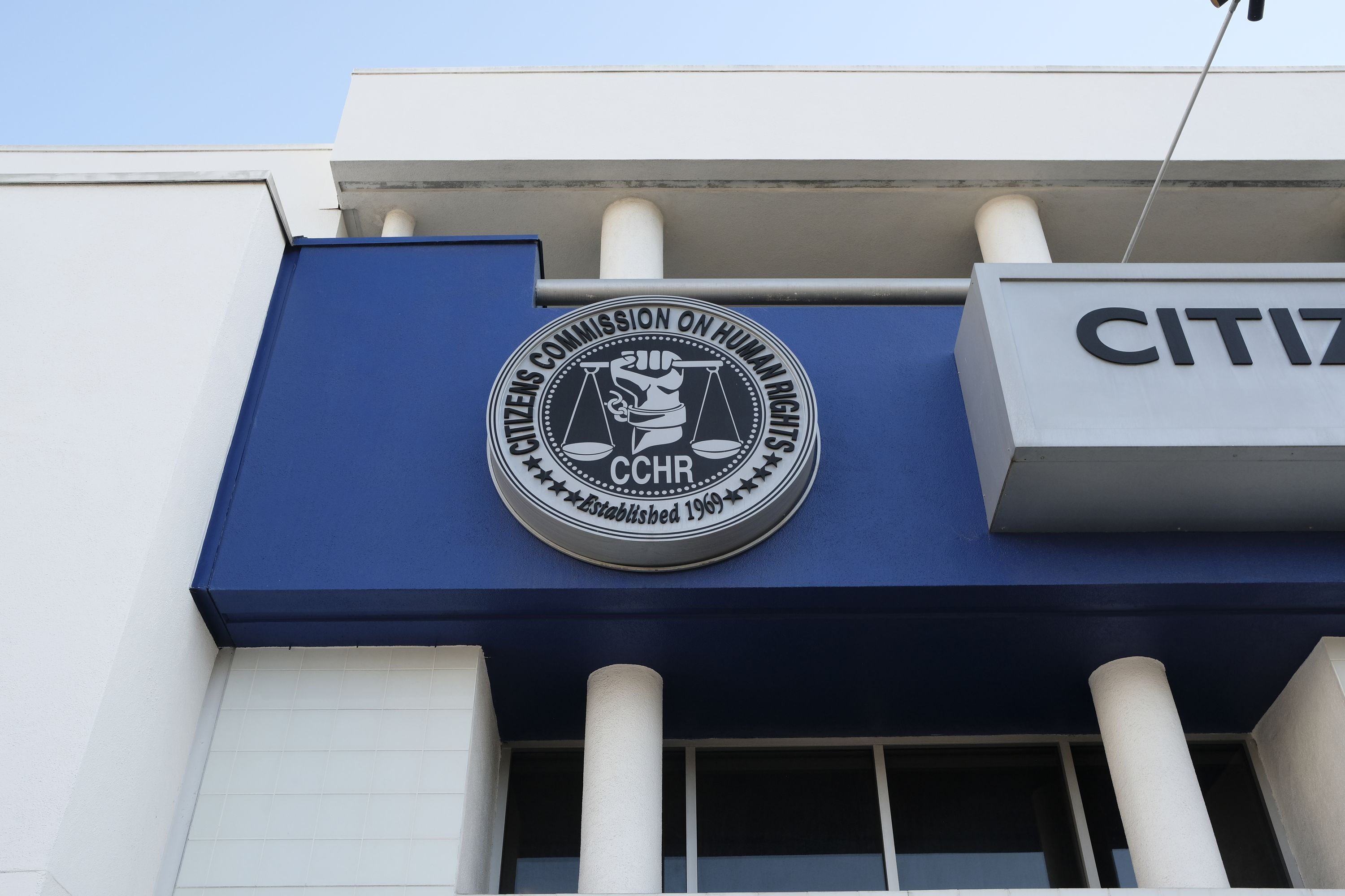 The Citizens Commission on Human Rights logo on the museum.
