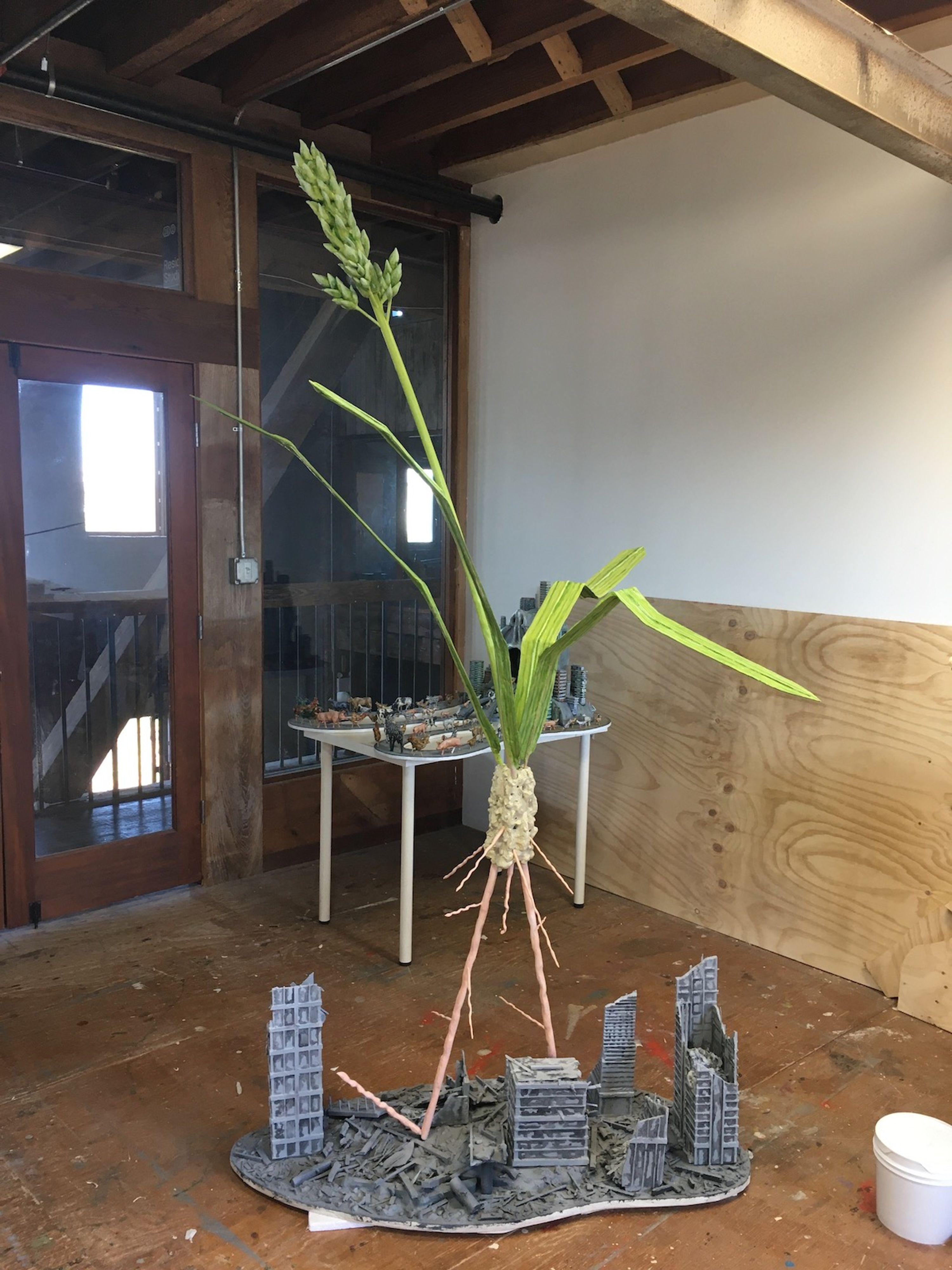 Conceptual sculpture in Jude Griebel's studio at Pioneer Works.