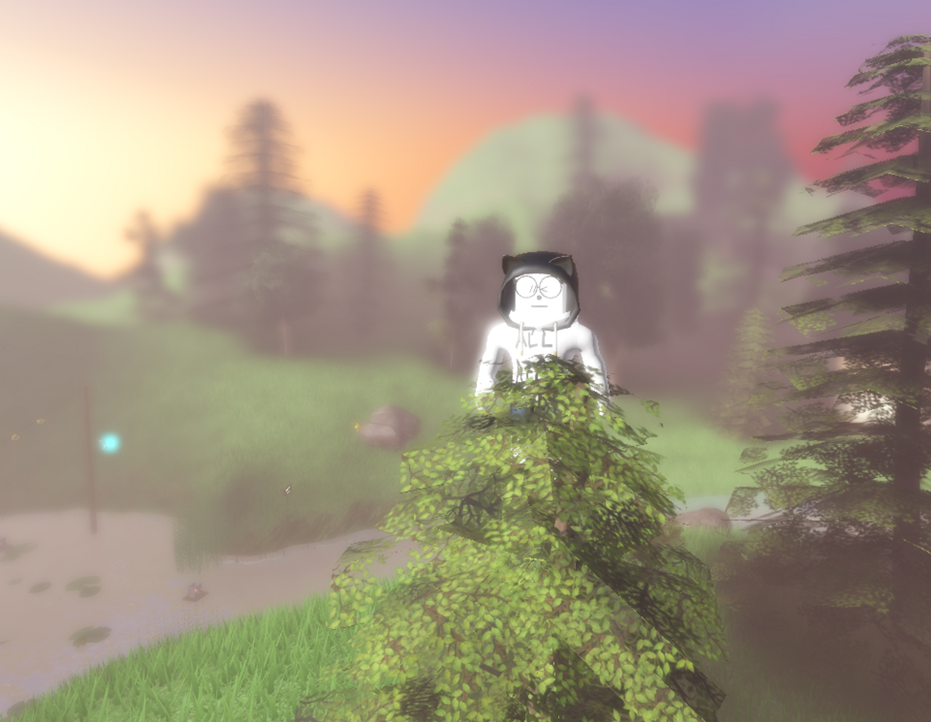 Image of my avatar, a white cartoon-style figure, standing in the top of a pine tree with a blurry mountainous landscape and sunset in the background.
