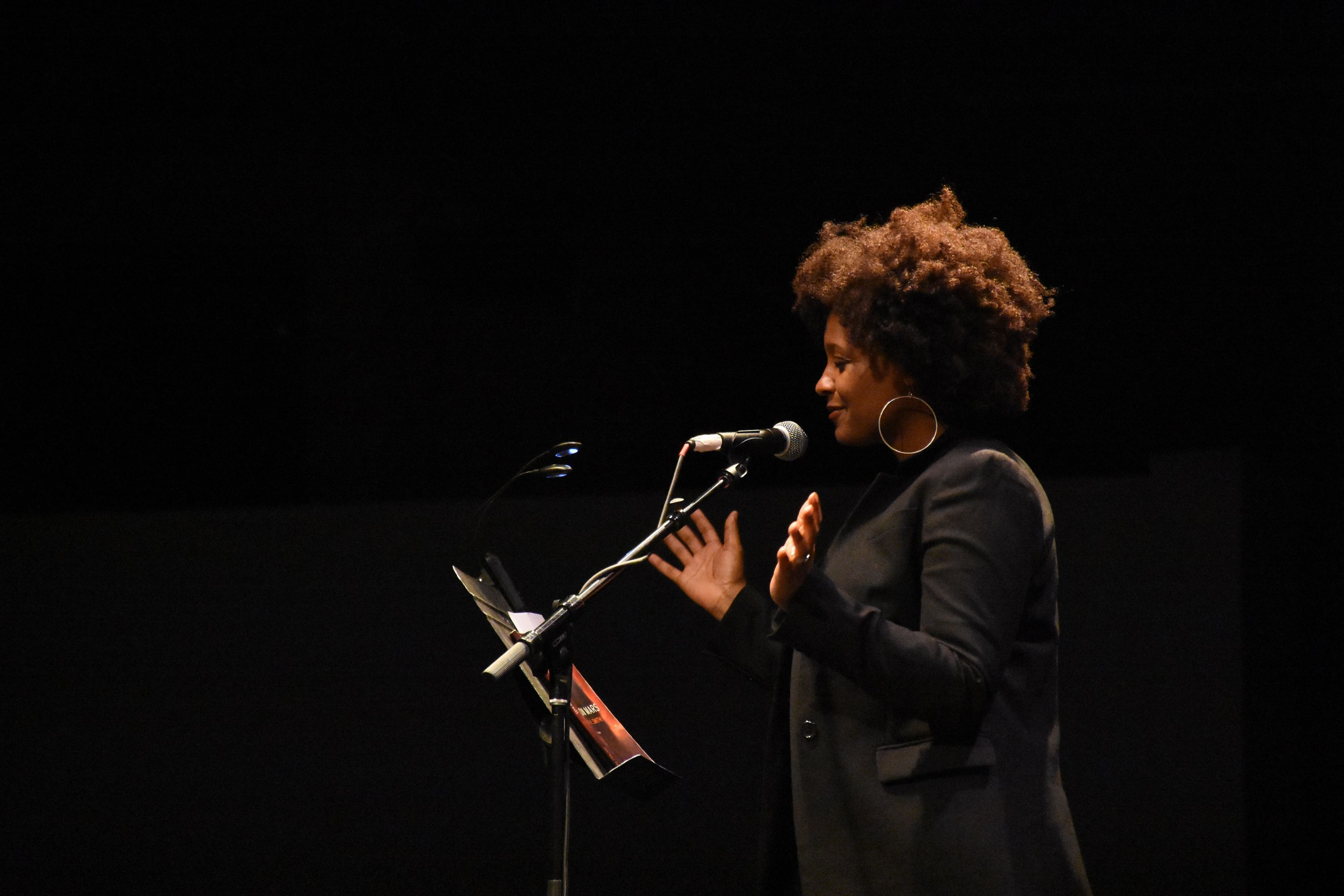 Tracy K. Smith reading for The Universe in Verse in 2017, photo by Molly Walsh