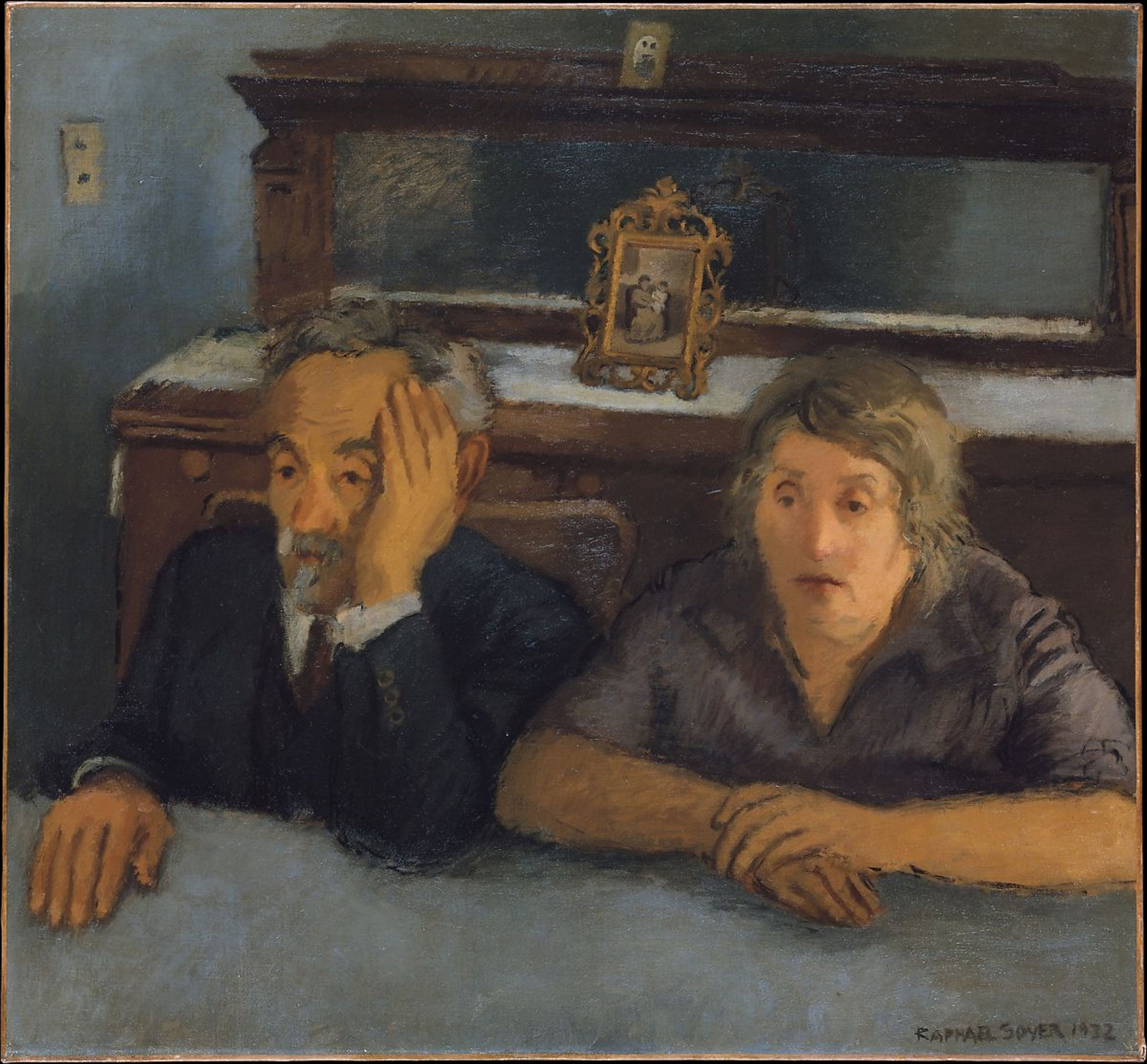 Painting by Rafael Soyer, of an elderly couple sitting at a table.