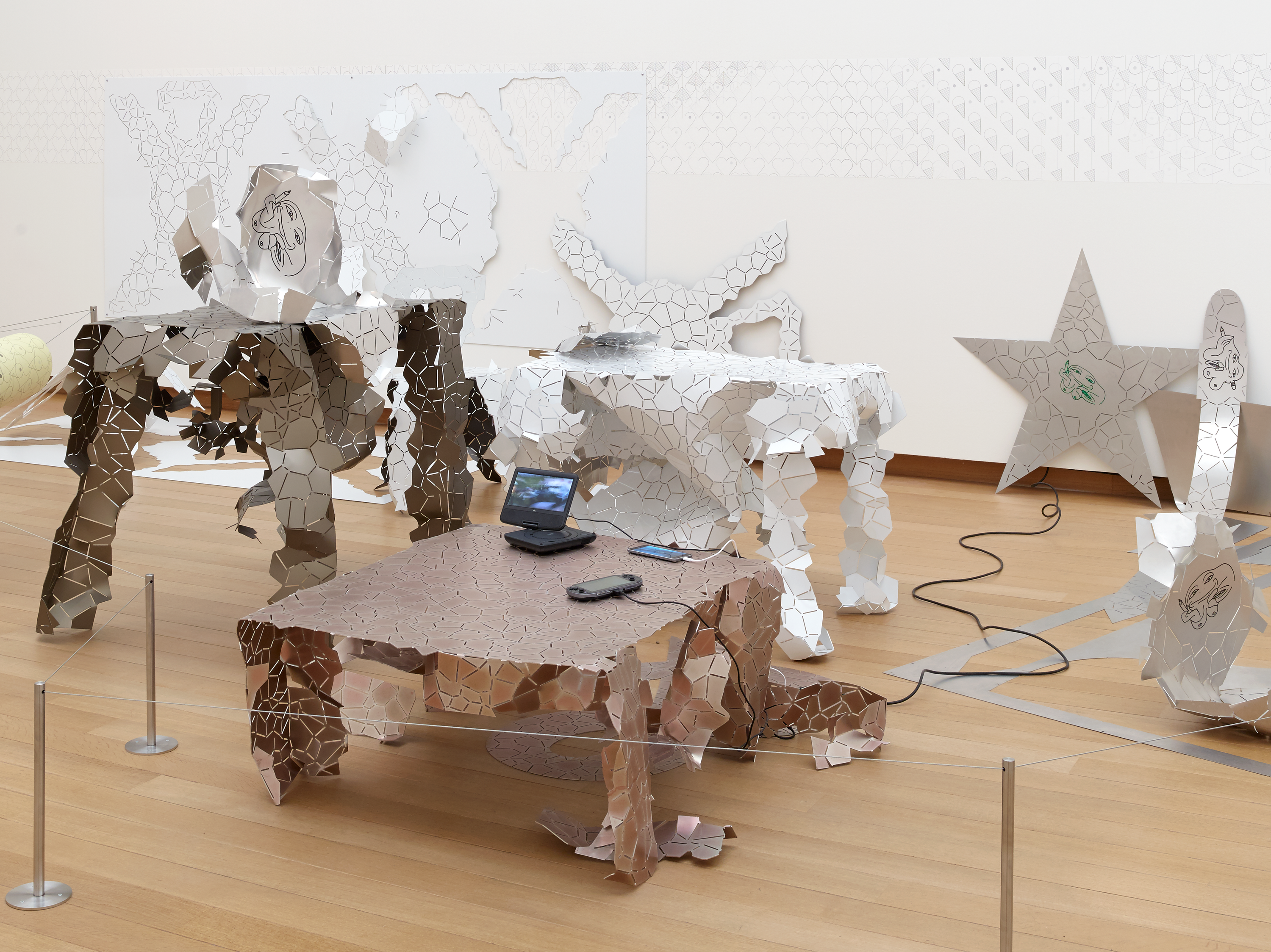 Installation view, Seth Price: Social Synthetic, Stedelijk Museum, Amsterdam, 2017. Courtesy of the artist and Petzel, New York.