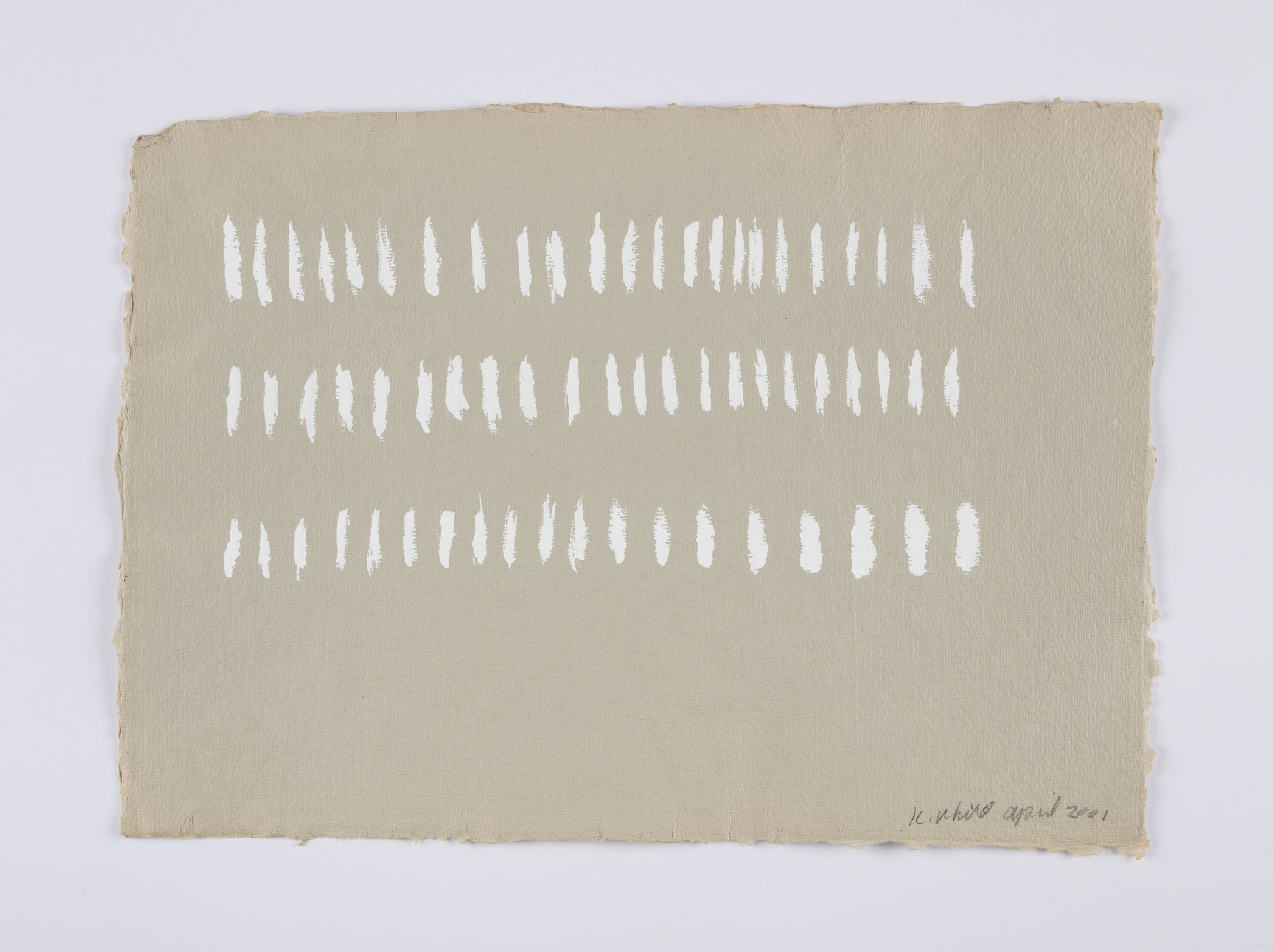 A view of one of the Year of Firsts works, a beige paper with white hash marks in three rows