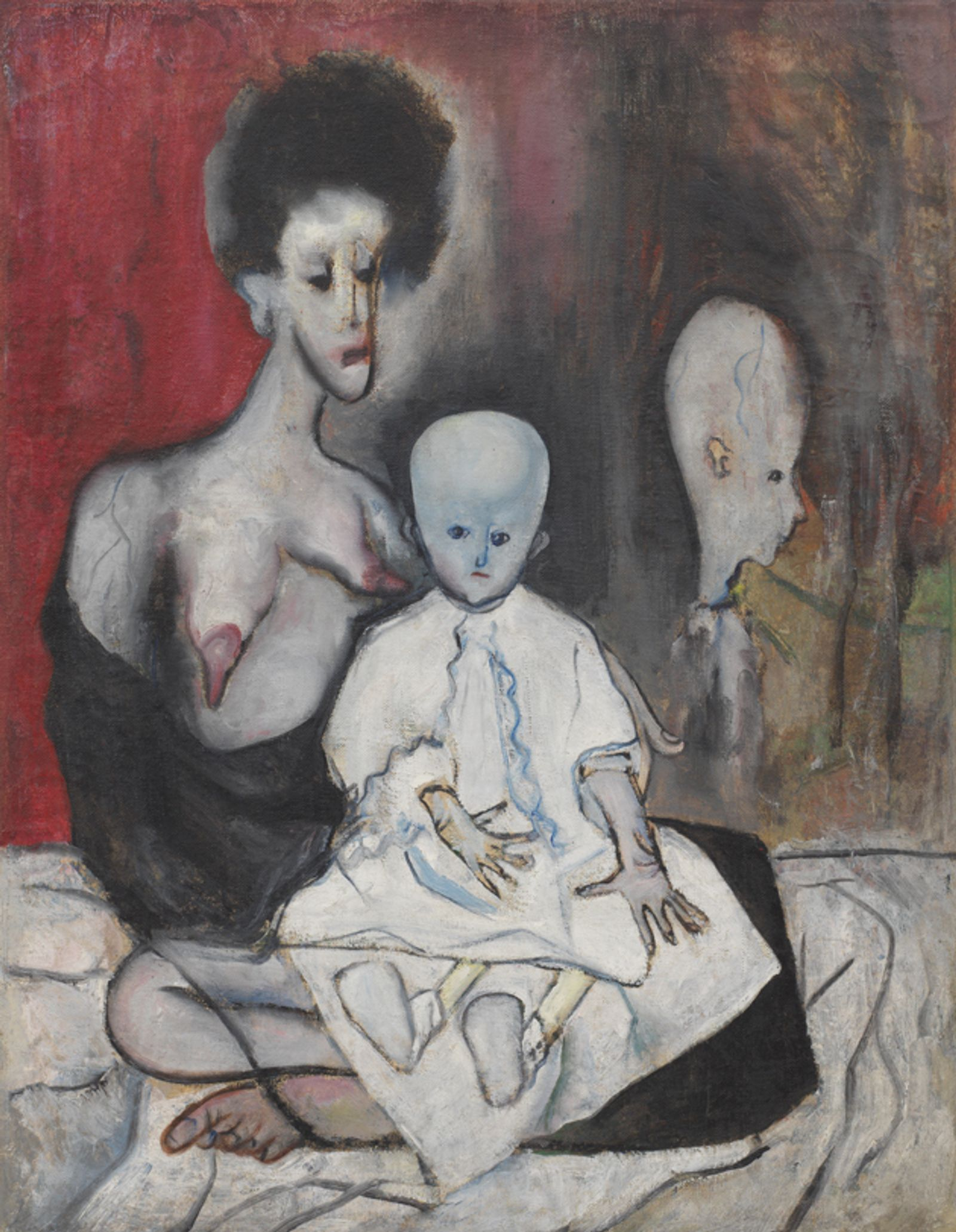 A black-haired woman with long, drooping facial features and topless with drooping, pointed breasts holds a bald, alien-like child, with another child hovering behind it.