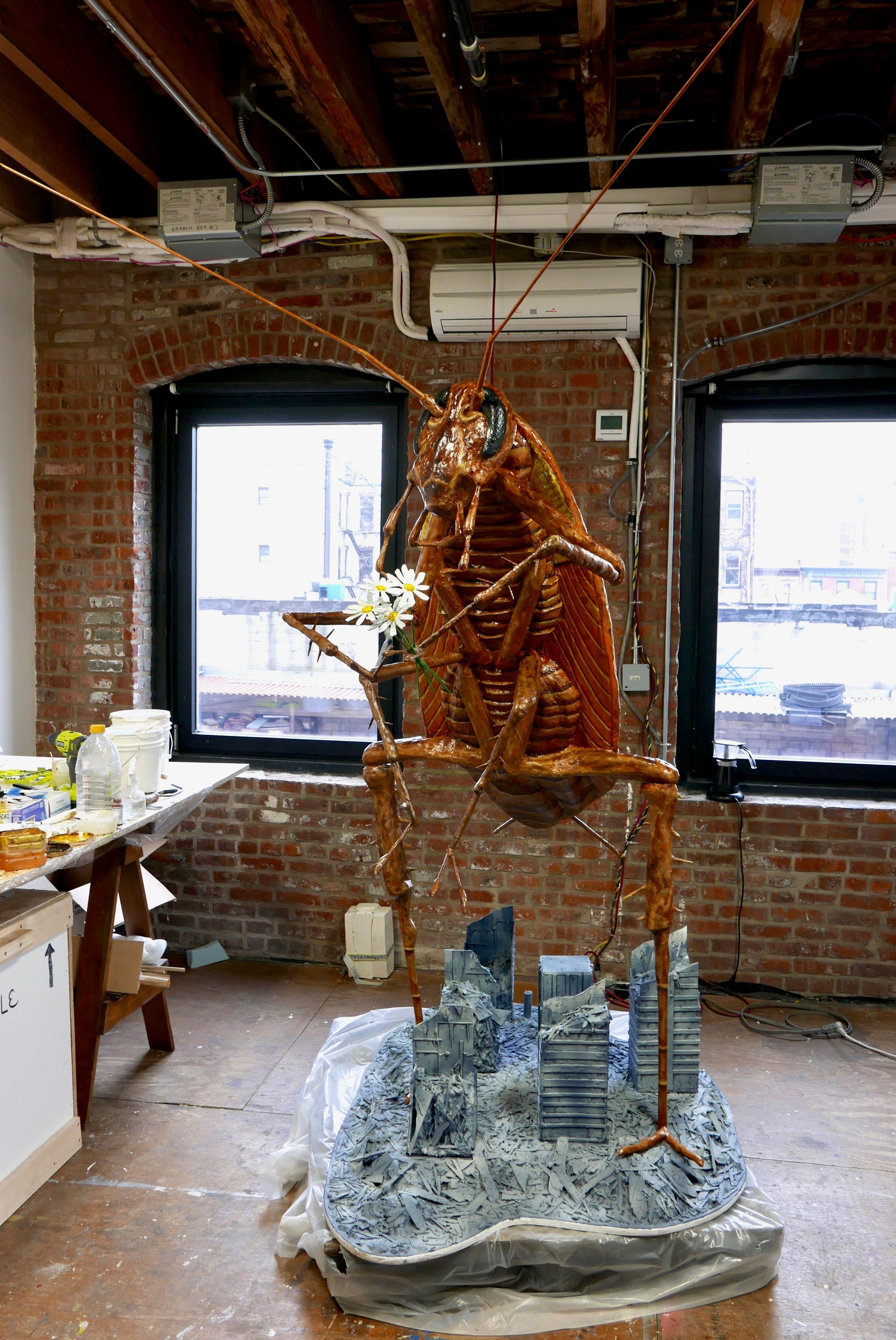 Cricket sculpture in Jude Griebel's studio at Pioneer Works.