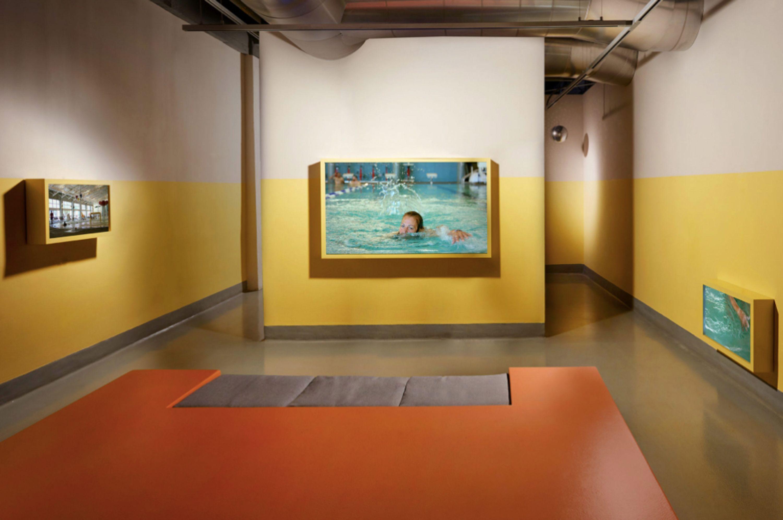 Installation view of Salidas y Entradas Exits and Entrances (2018), in collaboration with artist Jessica Hankey, Rubin Center for the Visual Arts, El Paso, TX.