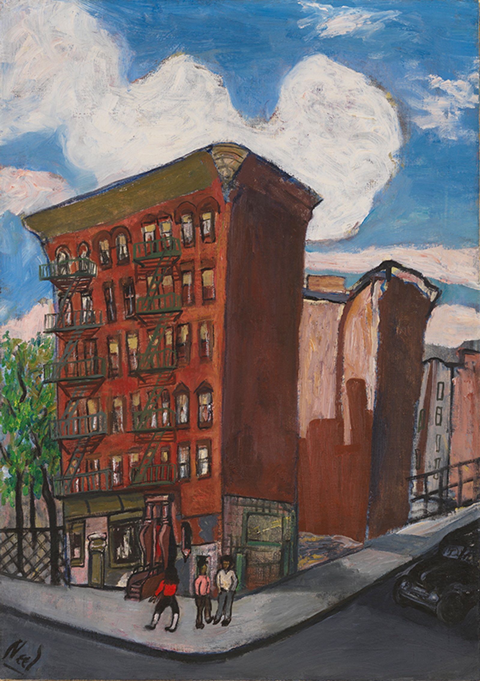 A tenement building on a street corner stretches to the sky on a beautiful, summer day.