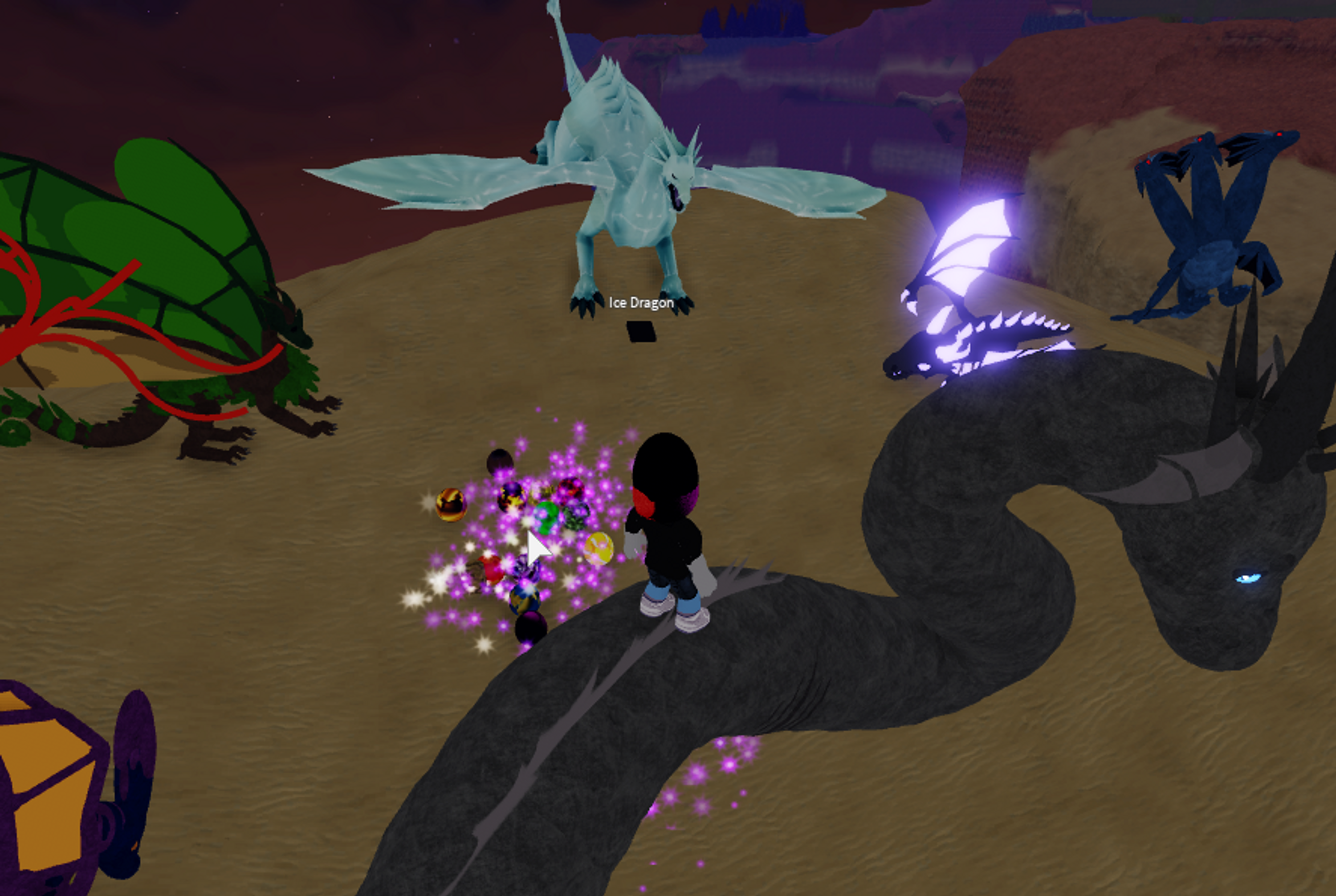 A Roblox avatar standing among a bunch of dragons