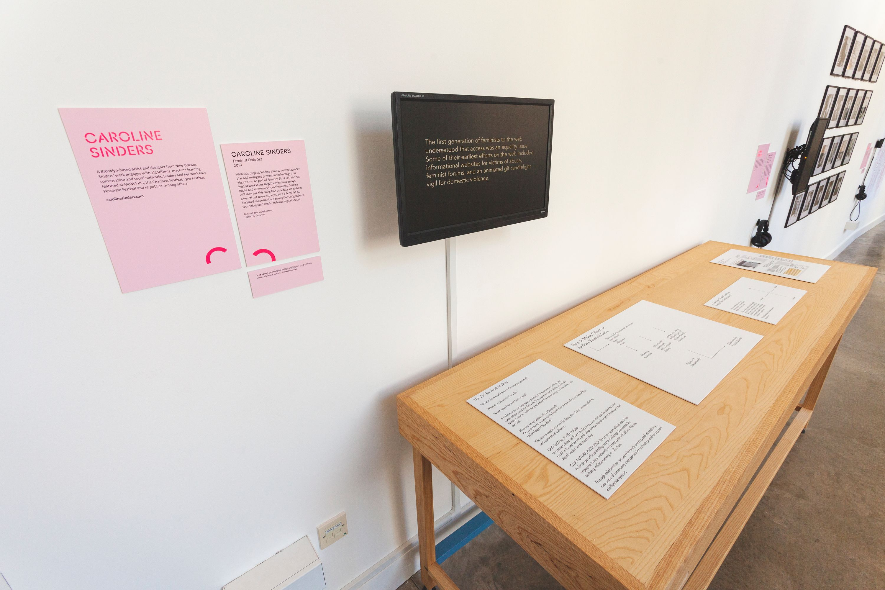 An installation shot of Feminist Data Set at the Victoria and Albert Museum.