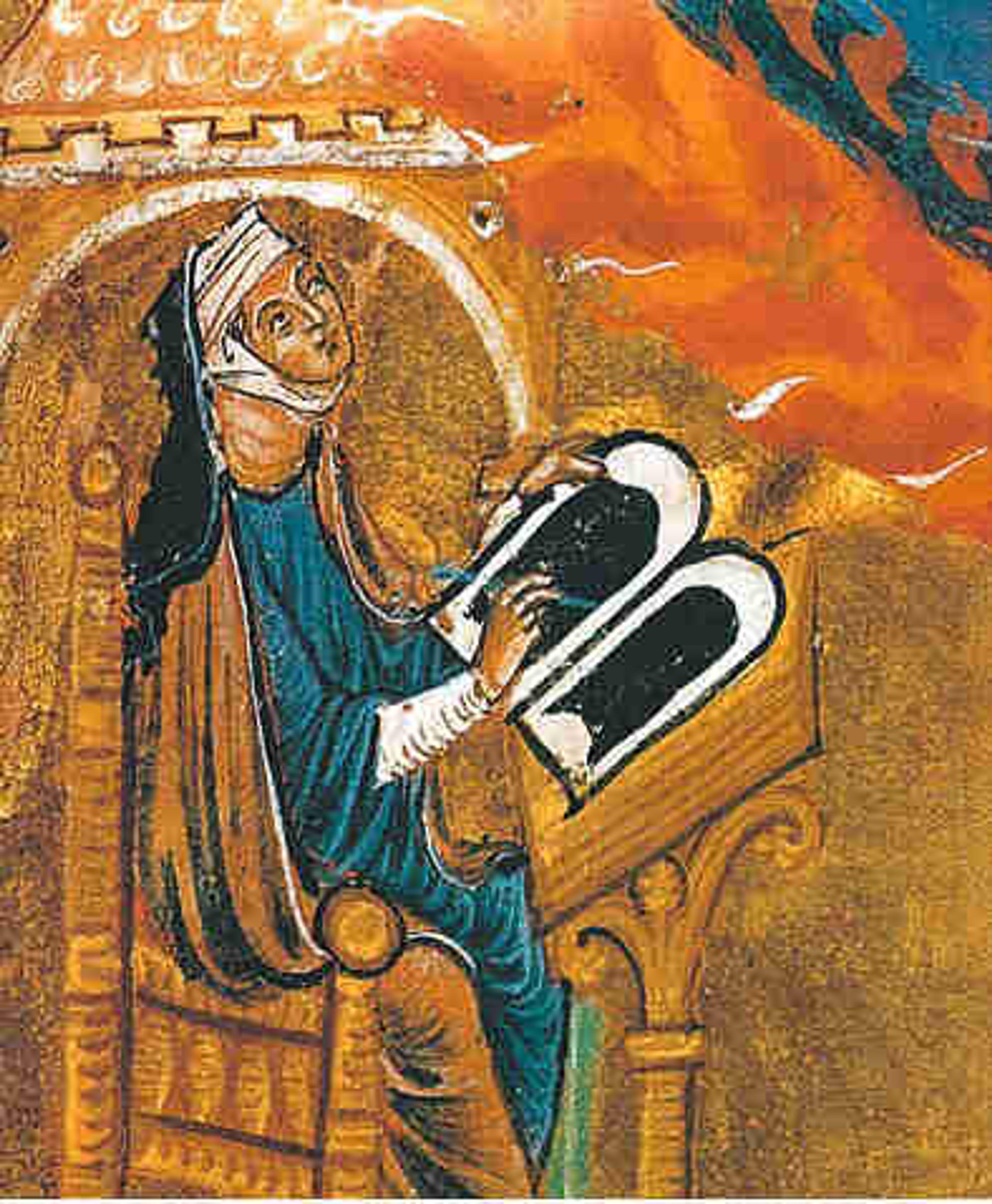 Medieval painting of Hildegard of Bingen