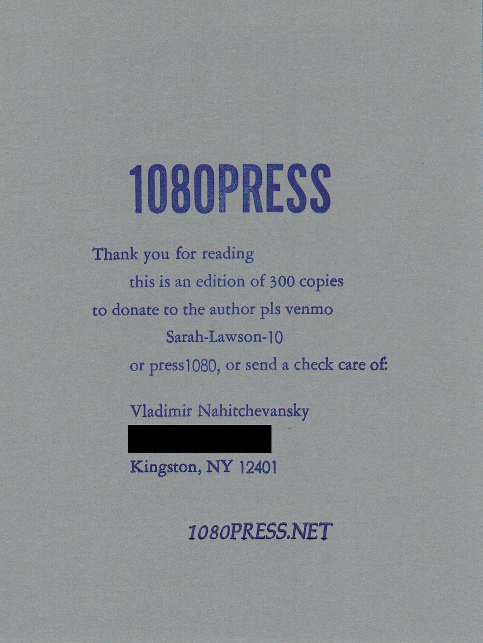 A grey cover of a chapbook with blue text that says 1080 Press on it.