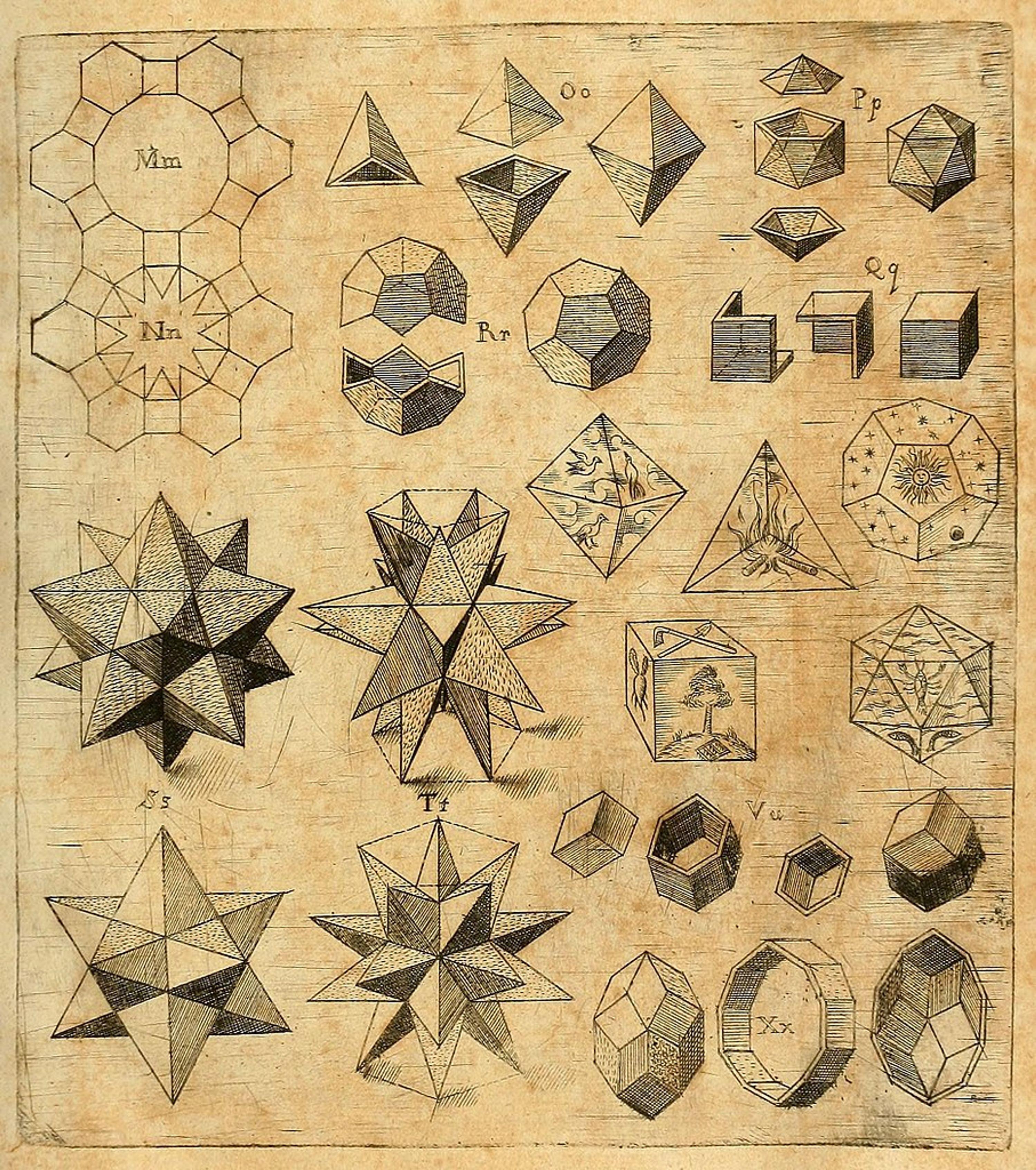 Mathematical drawings by Johann Kepler