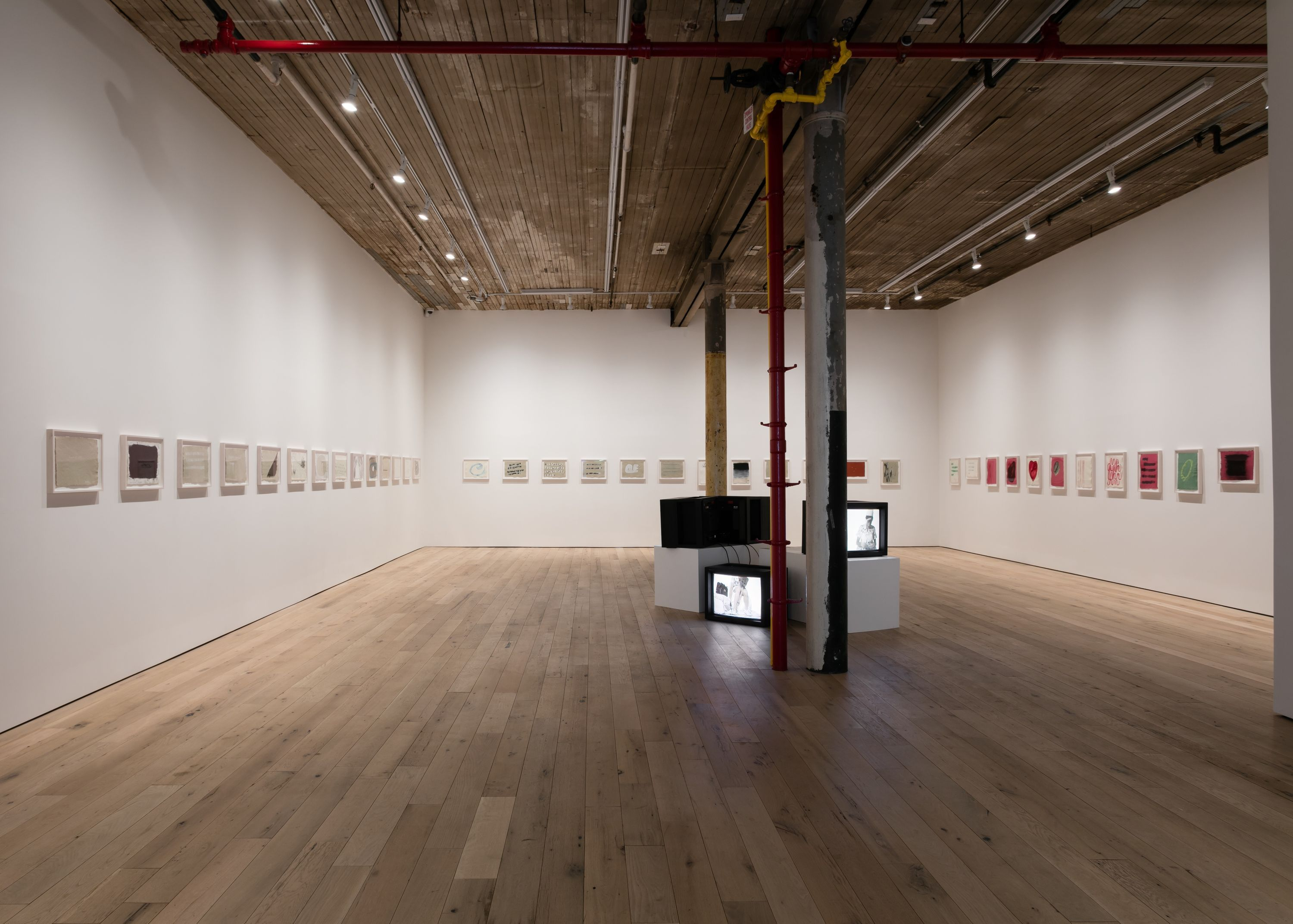 """A wide angle view of Kathleen White's exhibition """"A Year of Firsts"""""""