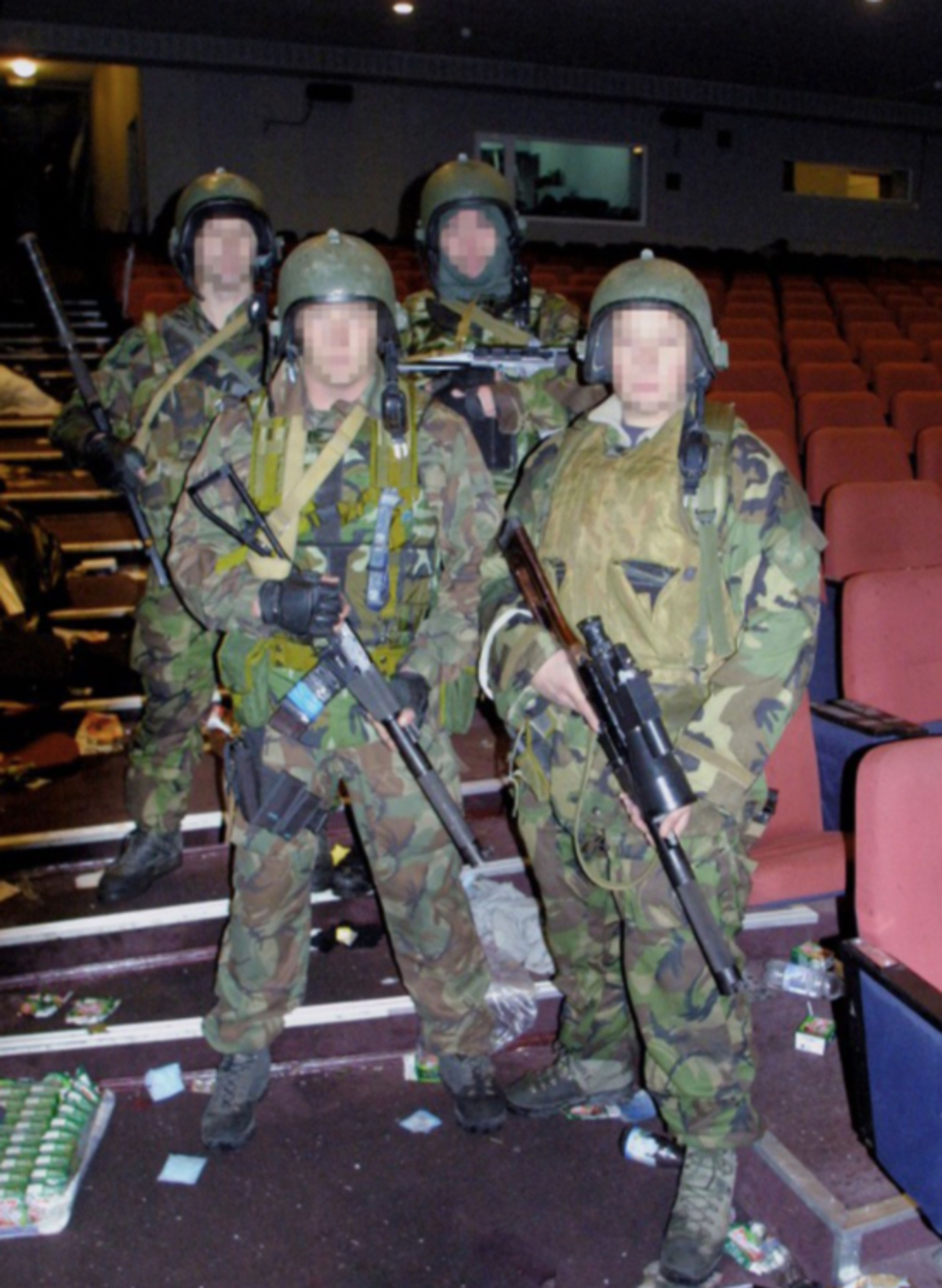 Members of the Spetsnaz in the theatre after the siege.