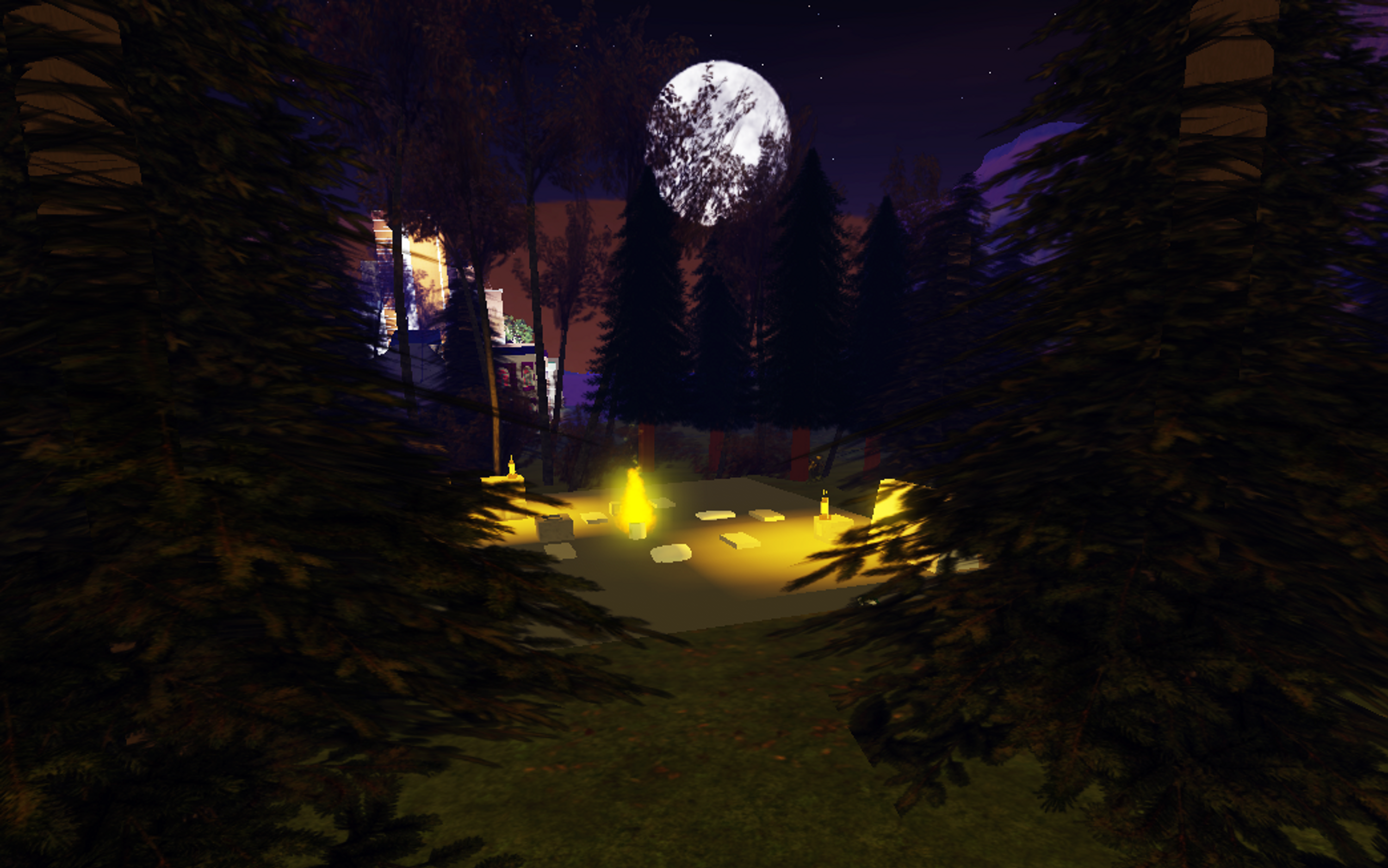 A screenshot of the author's birthday cement slab in Roblox, with a big white moon rising over a glowing campfire.