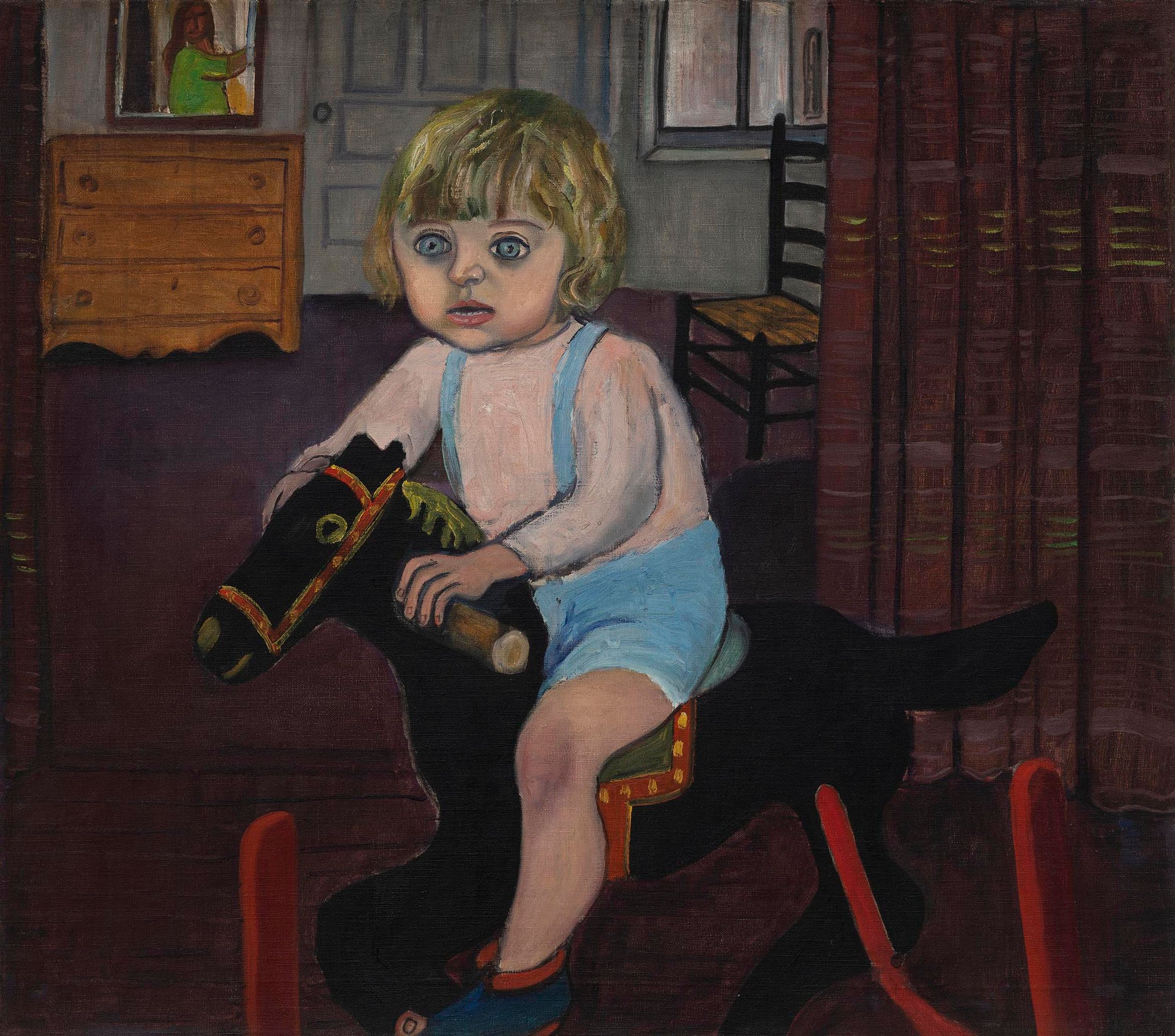 A child with wide, almost fearful eyes rocks on a rocking horse.