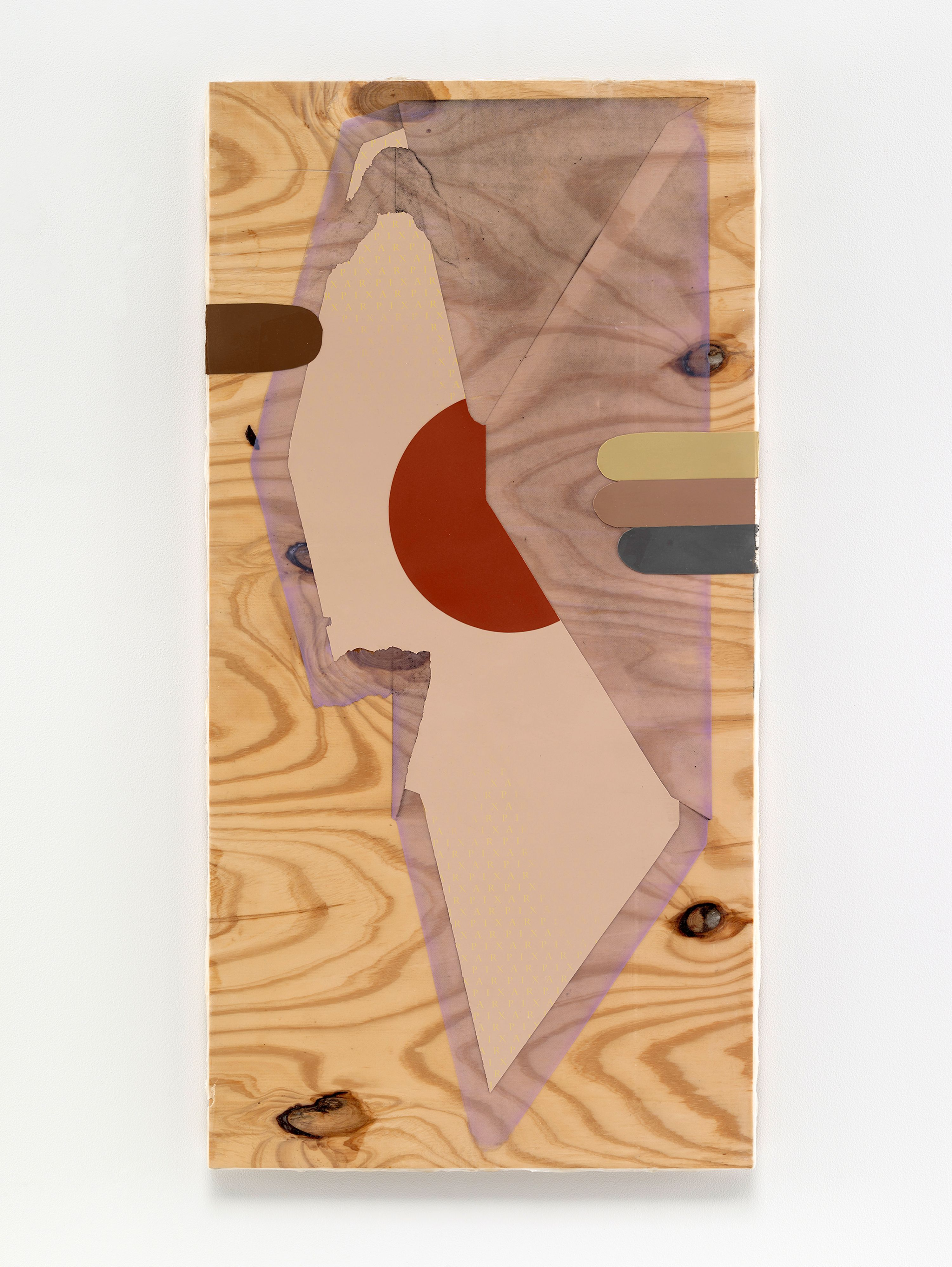 Seth Price, Design for Multiethnic Streetwear Envelope, 2015, Screen inks and pigmented acrylic polymer on wood, 47 x 27 inches. Courtesy of the artist and Petzel, New York.