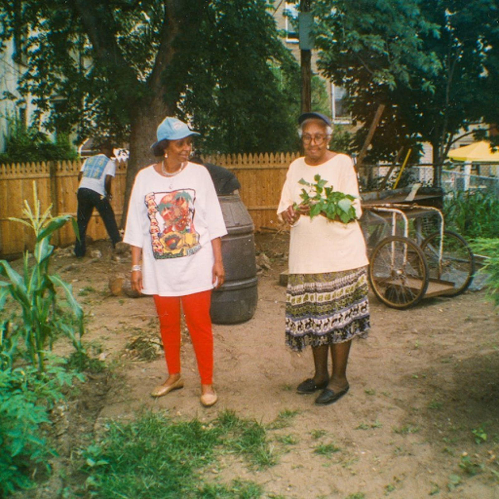 Two older Black women in a community garden.
