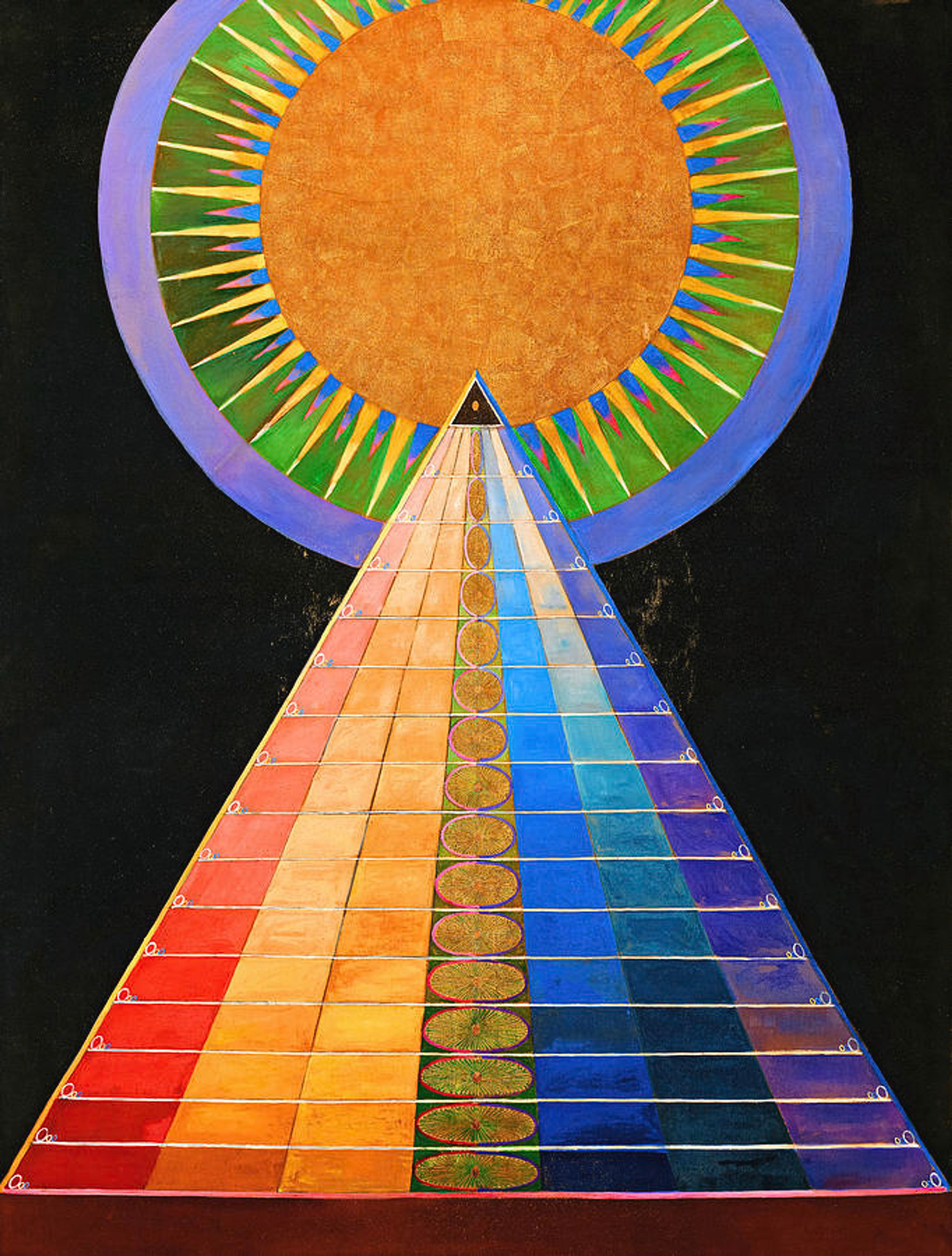 """Abstract pyramid painting entitled """"Altarpiece No. 1, Group X"""" by Hilma Van Klimpt"""