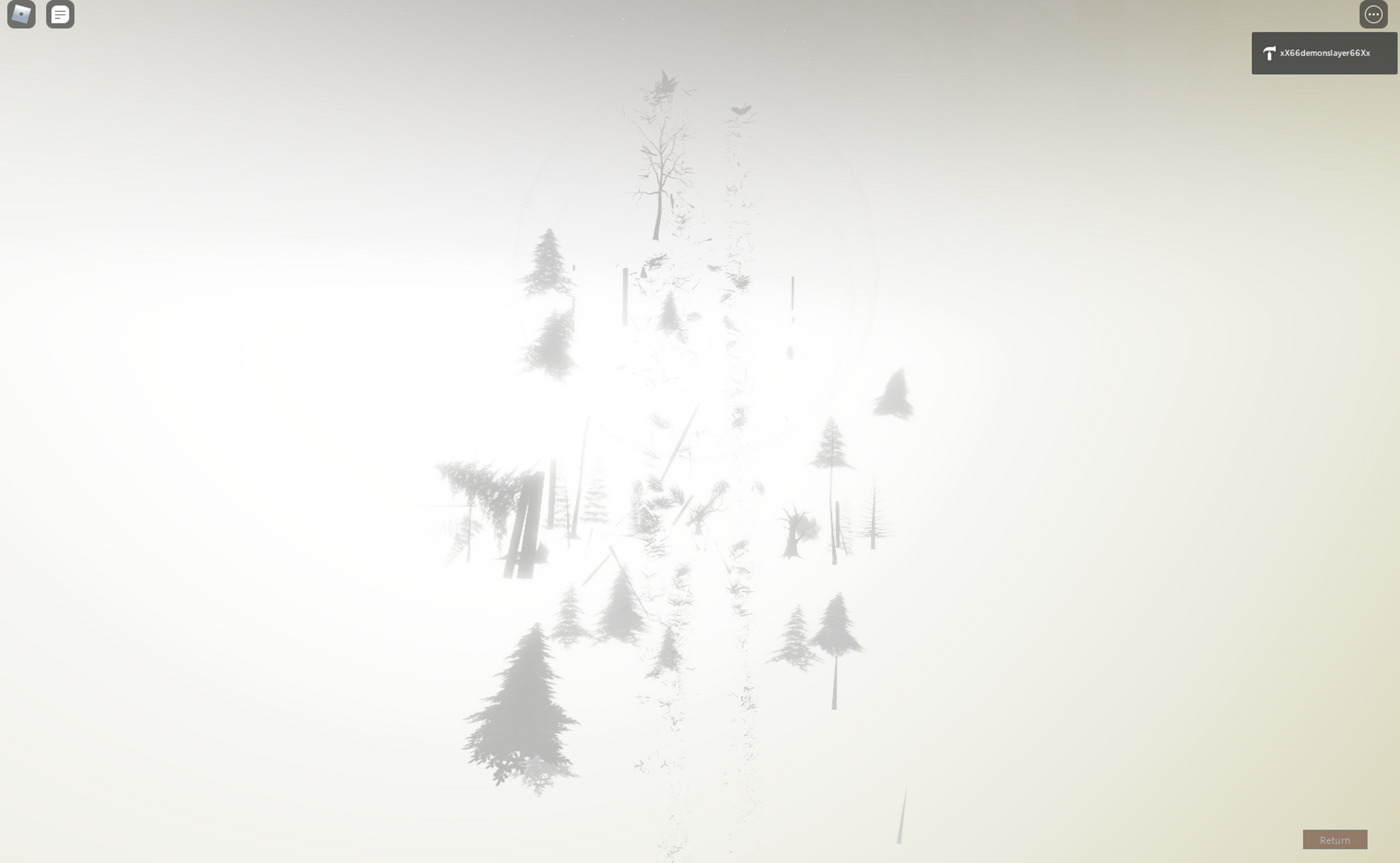 Silhouettes of trees fall into a bright fog.