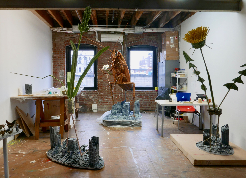 Various sculptures in Jude Griebel's studio at Pioneer Works.