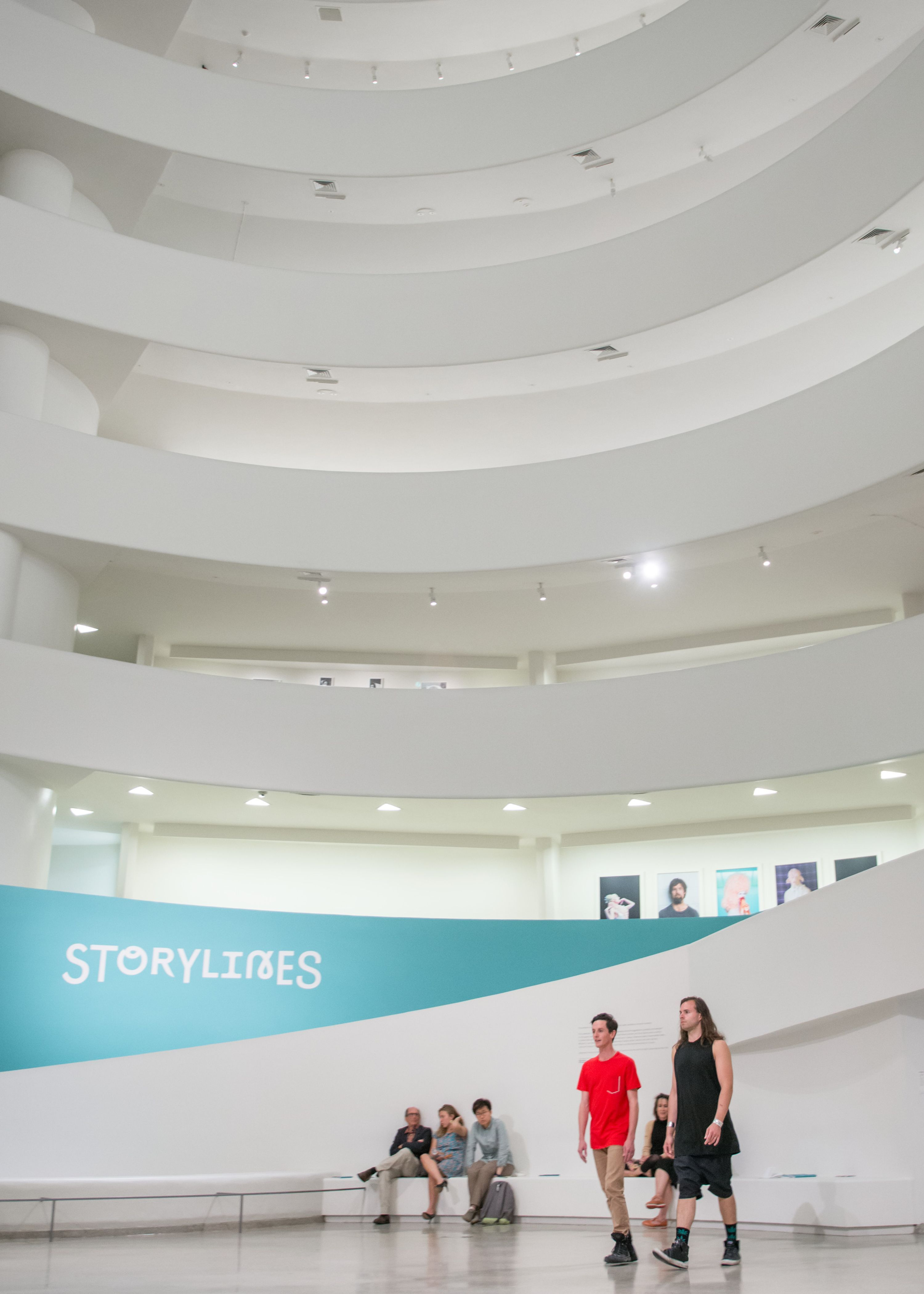 A pair performing Gerard and Kelly, Timelining, in the Guggenheim Museum.