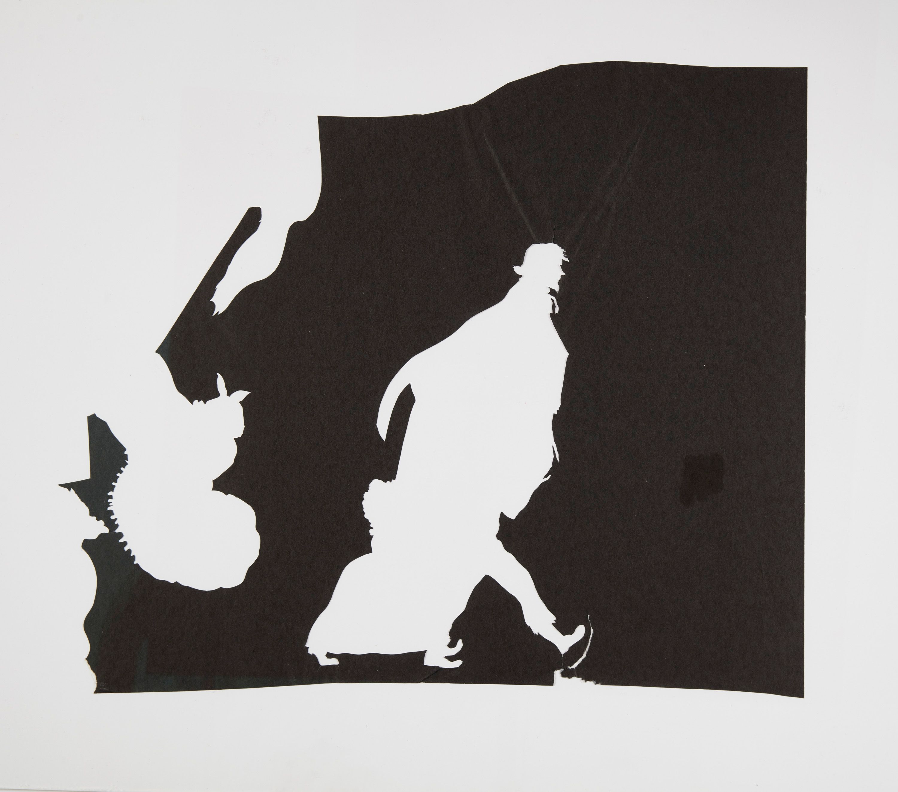 Kara Walker Detail from Untitled (recto and verso from single sheet), 2016 Ink, watercolor, graphite, gouache, pastel, collage