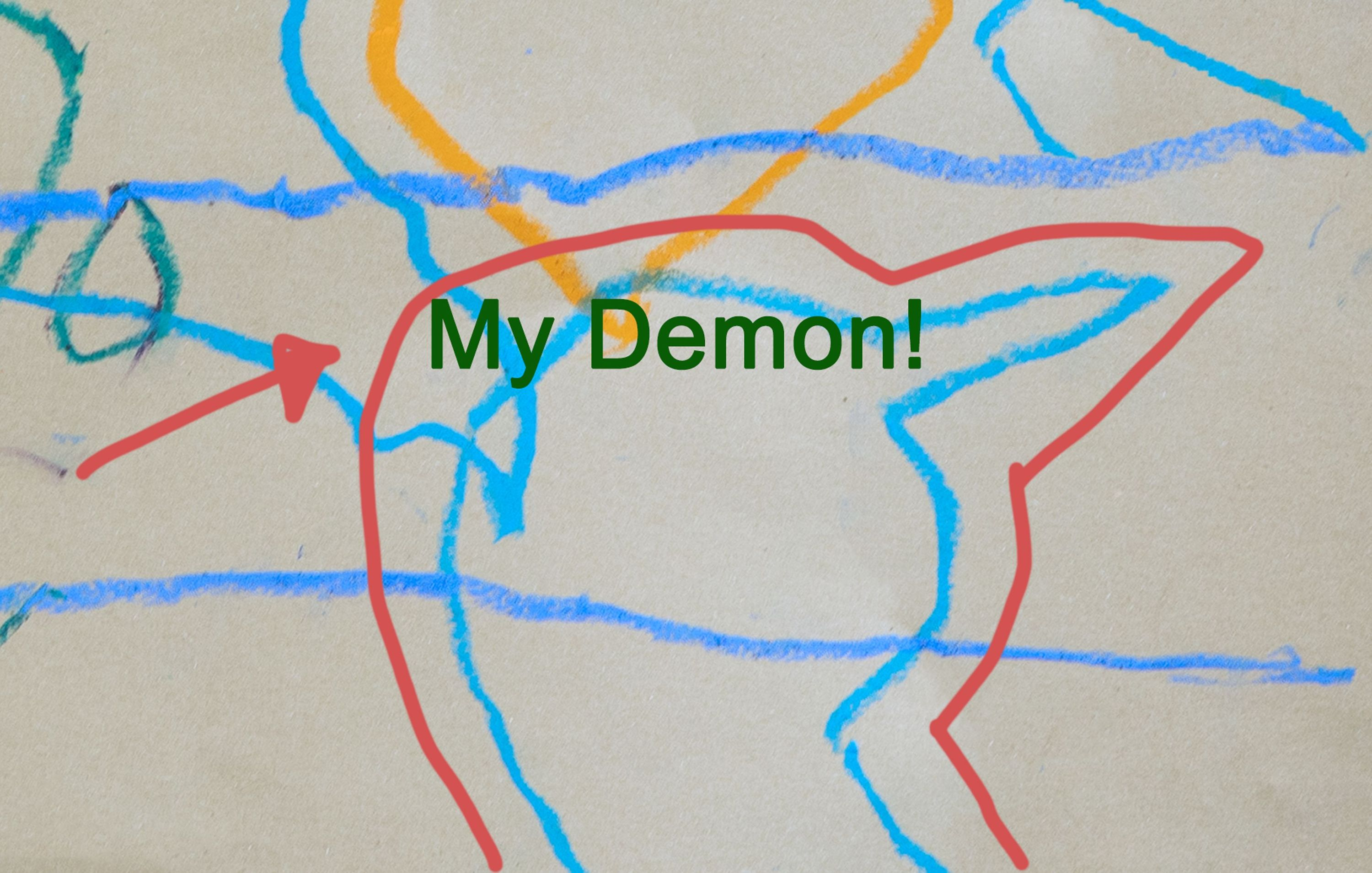 """Abstract colorful line drawing labeled """"my demon."""""""