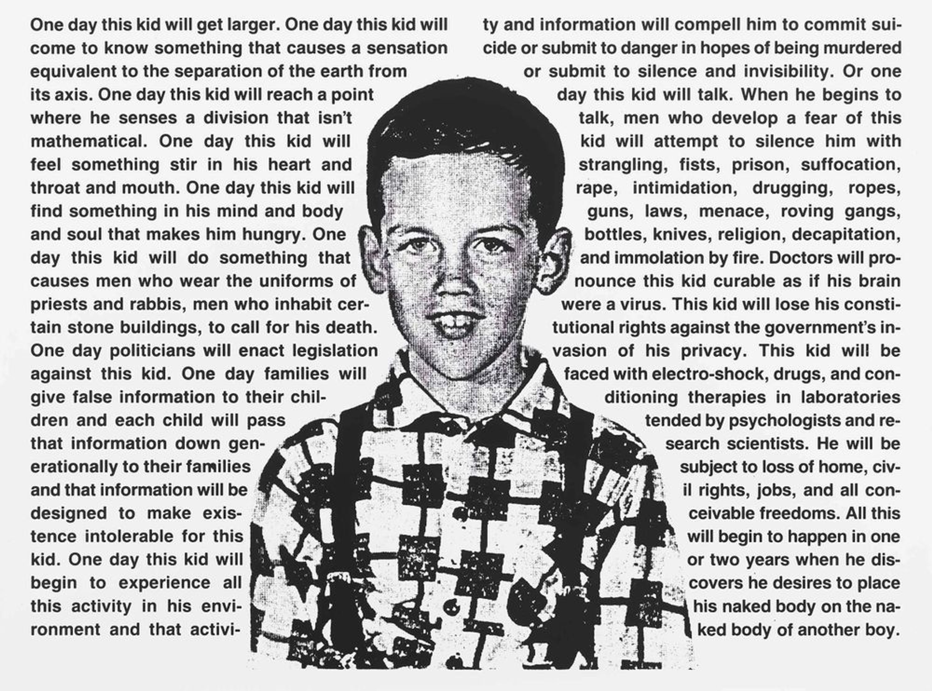 Image of a young boy surrounded by biographical text.