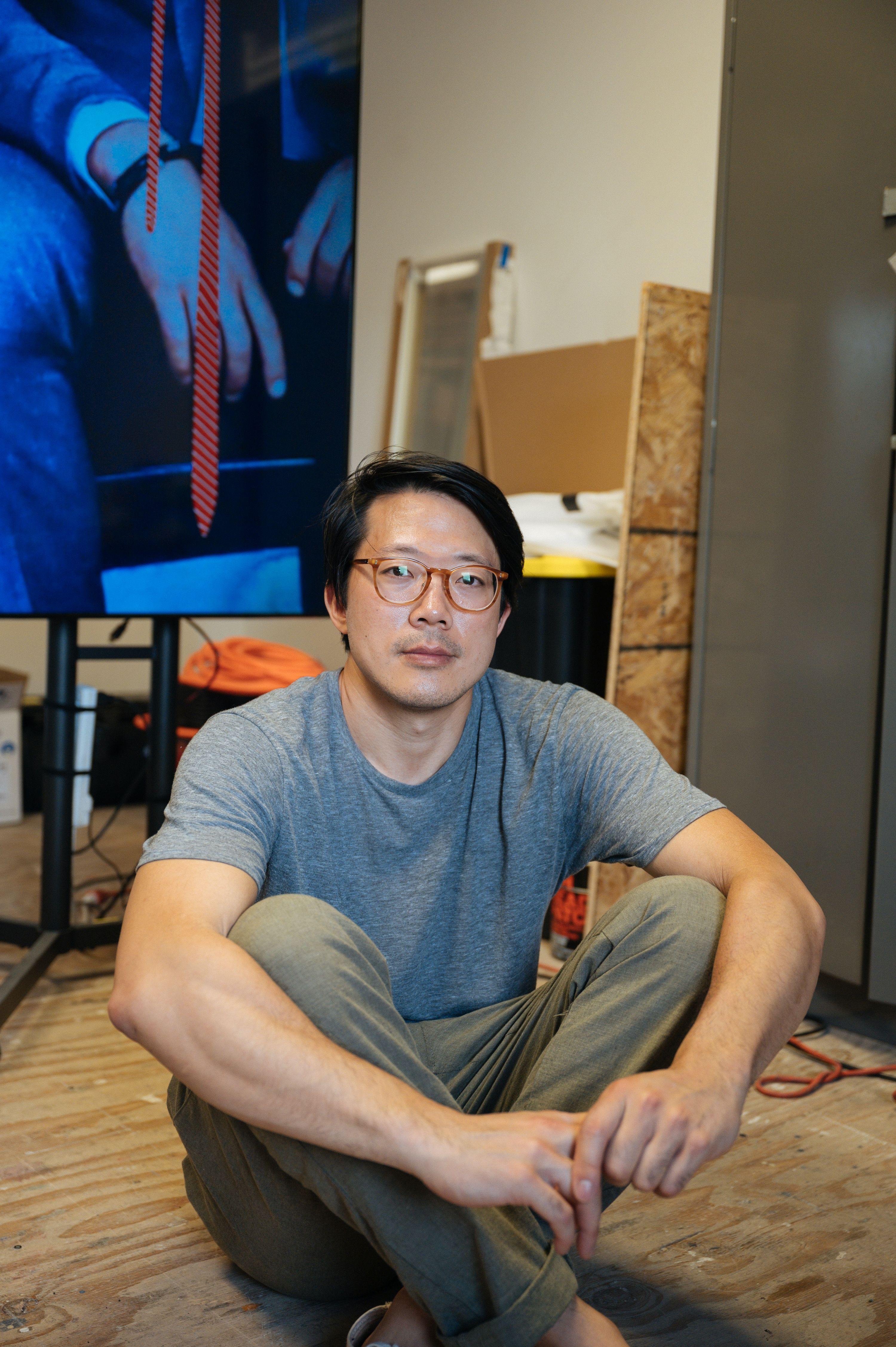 Kenneth Tam in his studio at Pioneer Works