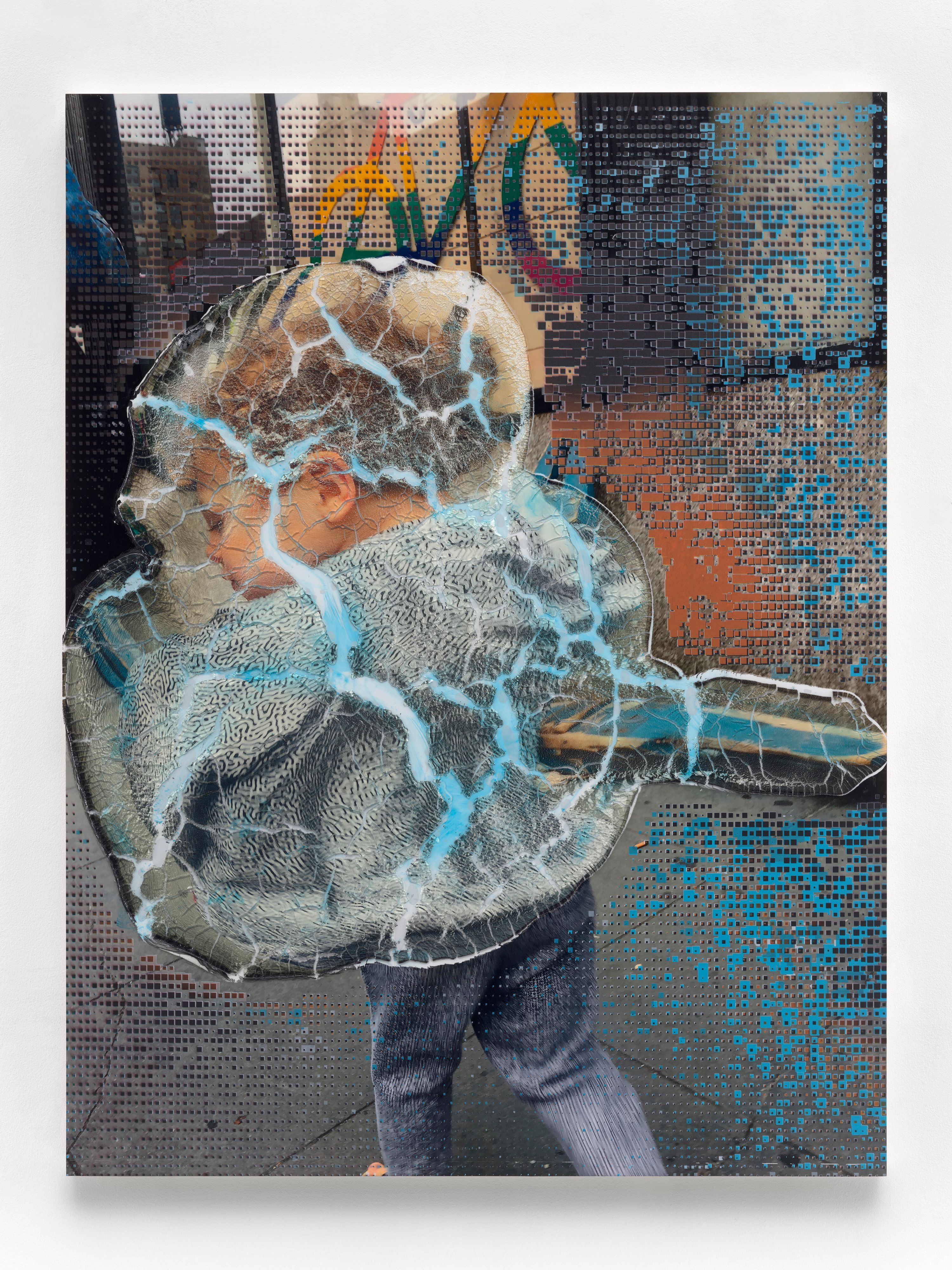 Seth Price, Social Space: Rainbow Signal, Cracked Police Barrier, Boy with Virus Pattern, 2019 Acrylic polymer, acrylic paint, inkjet on plastic, UV-cured inkjet, wood, metal, 55.25 x 42 inches. Courtesy of the artist and Petzel, New York.