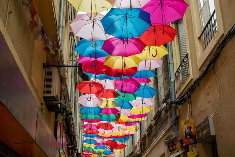 Umbrellas in street